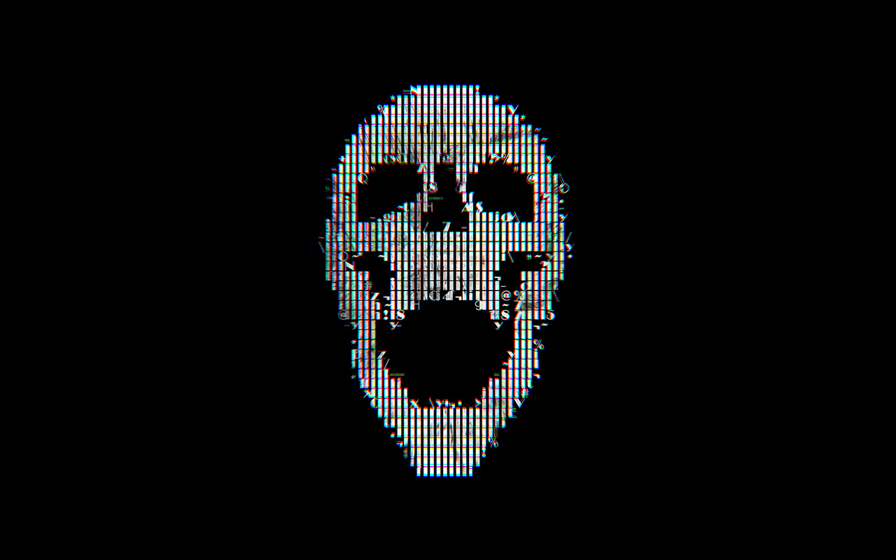 Bc71 Digital Skull Dark Black Art Illustration Simple Minimal