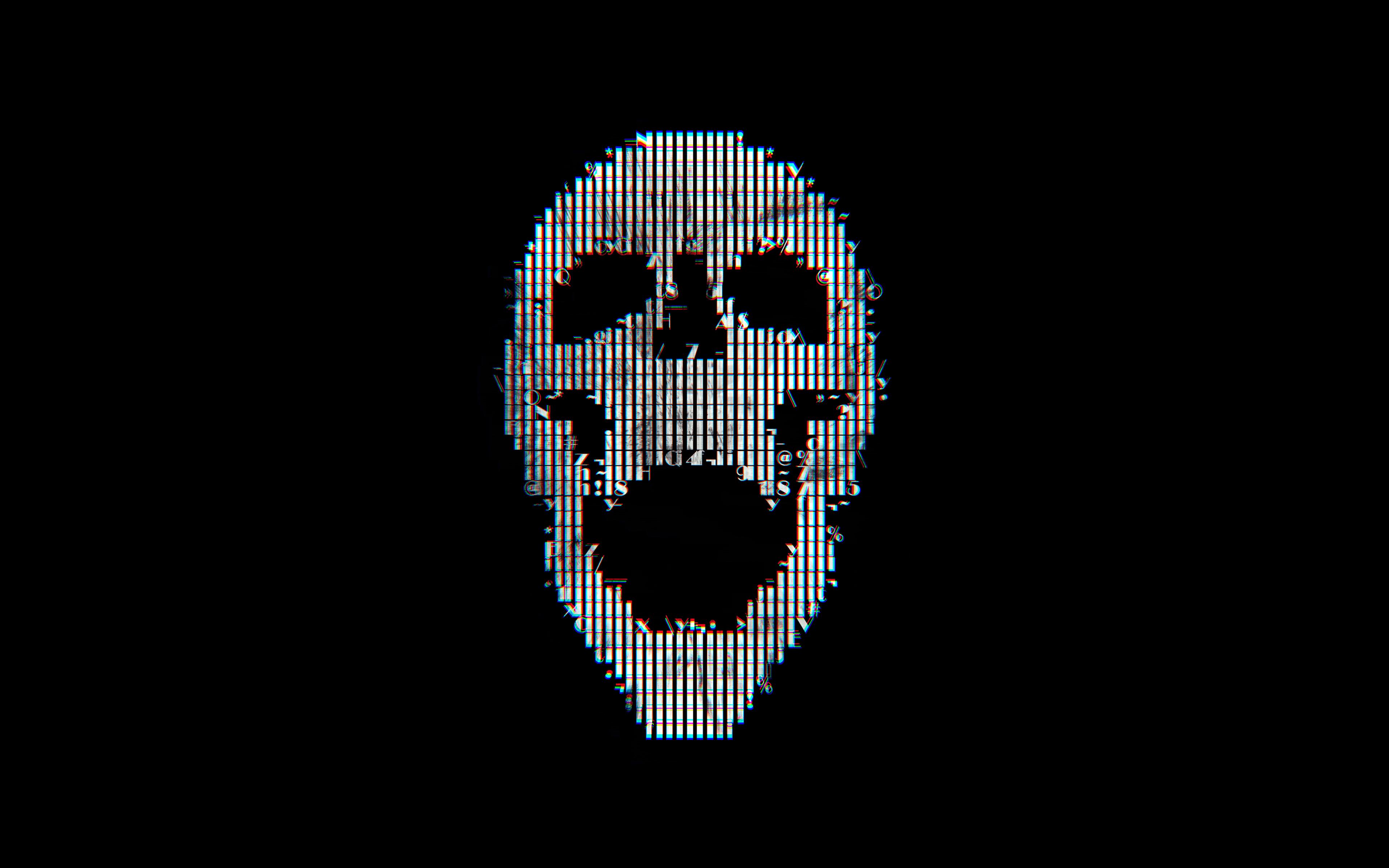 Bc71 Digital Skull Dark Black Art Illustration Simple