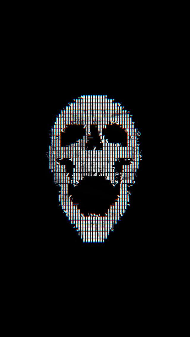 freeios8.com-iphone-4-5-6-plus-ipad-ios8-bc71-digital-skull-dark-black-art-illustration-simple-minimal