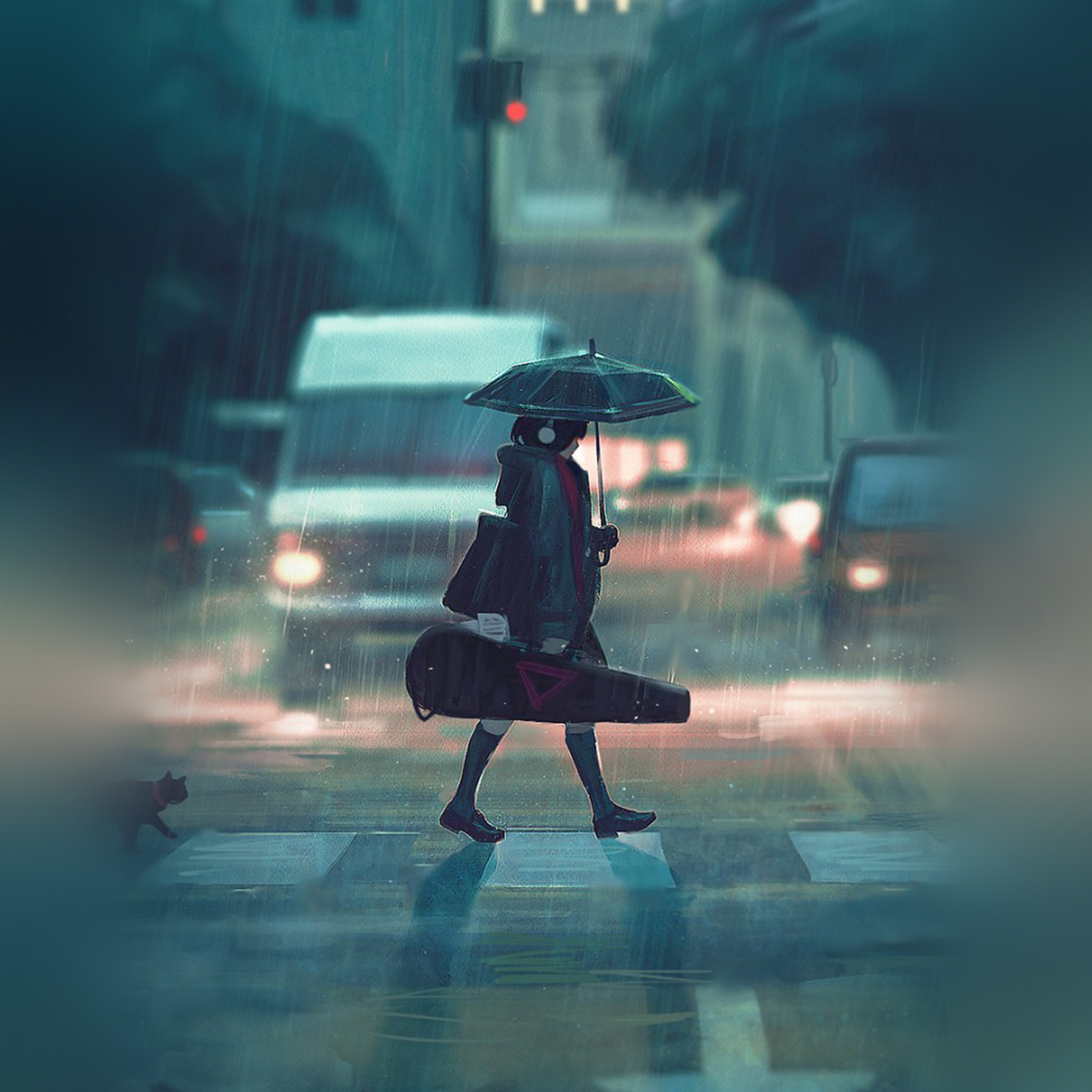 I love papers bc89 rainy day anime paint girl art - Anime rain wallpaper ...