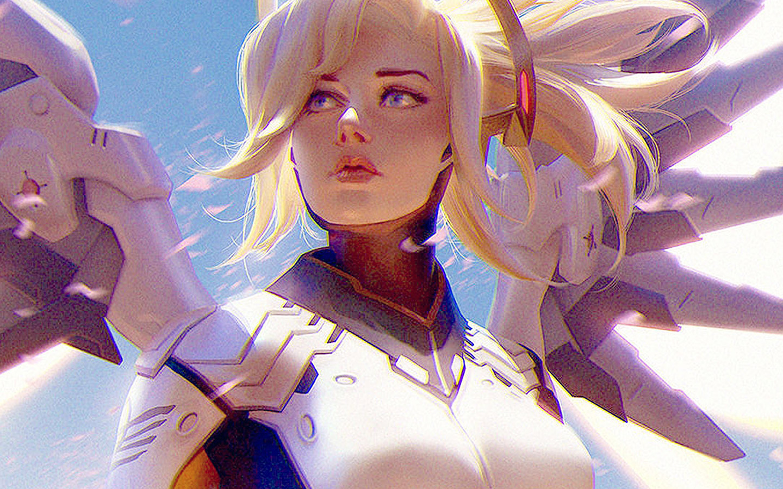 Bc96 Anime Game Overwatch Merci Girl Art Illustration Wallpaper