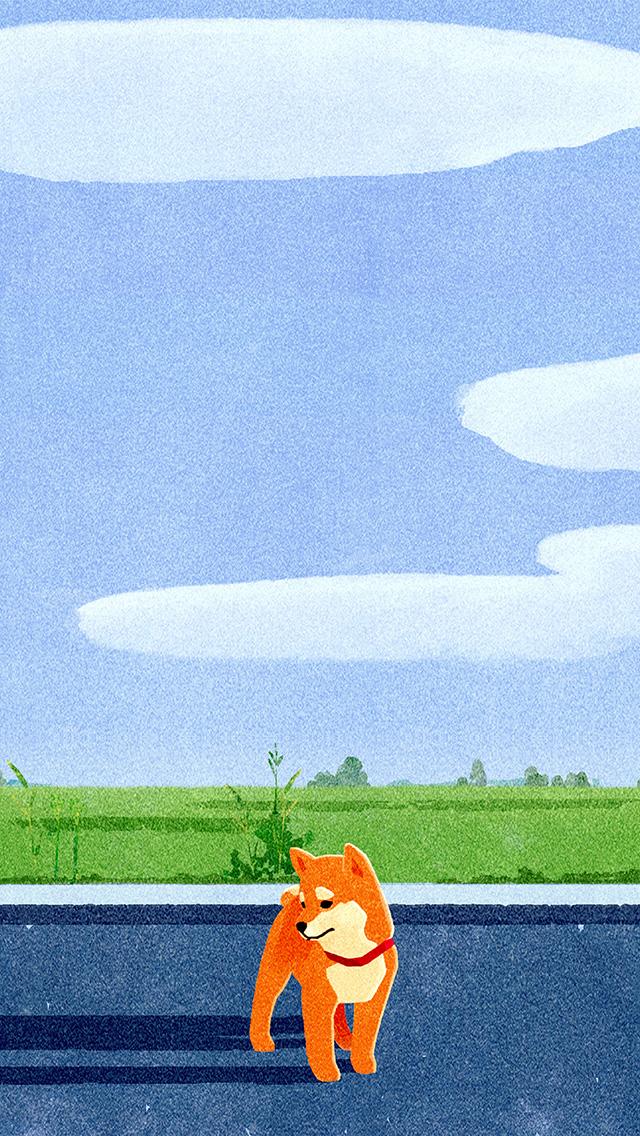 Bd62 Siba Dog Cute Art Illustration Sunny Wallpaper