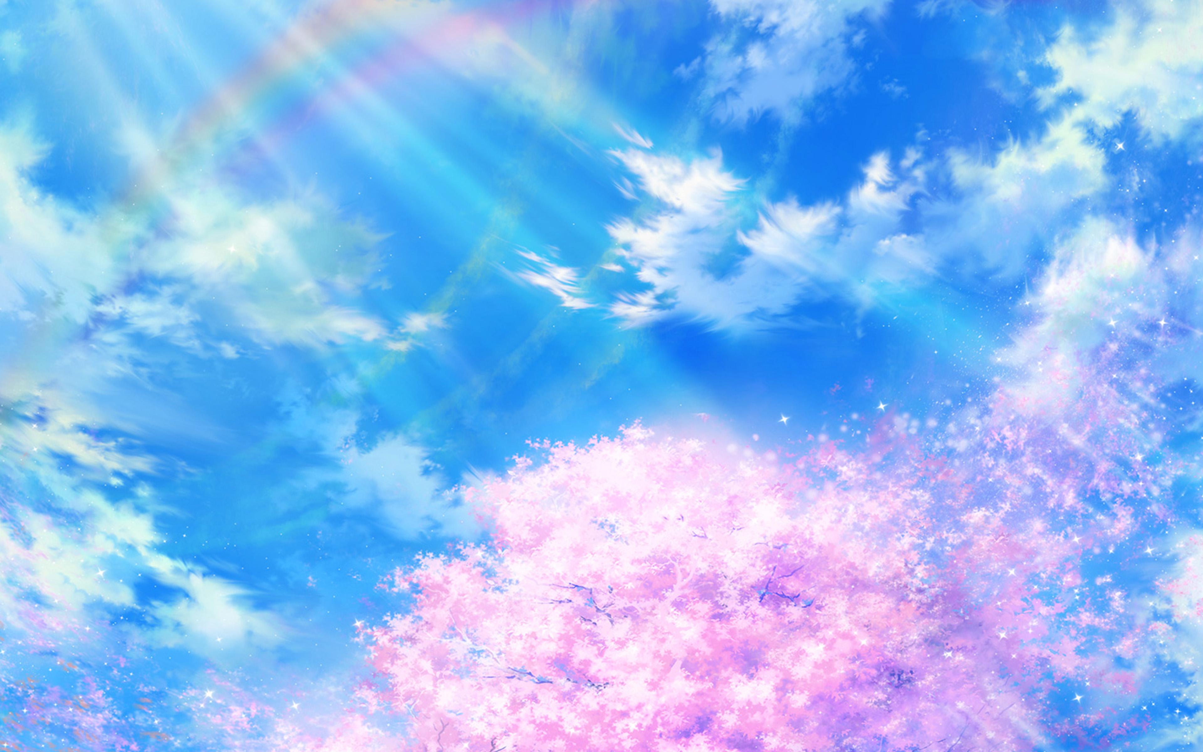 Wallpaper For Desktop Laptop Bd75 Anime Sky Cloud Spring