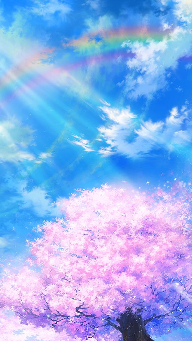 freeios8.com-iphone-4-5-6-plus-ipad-ios8-bd75-anime-sky-cloud-spring-art-illustration