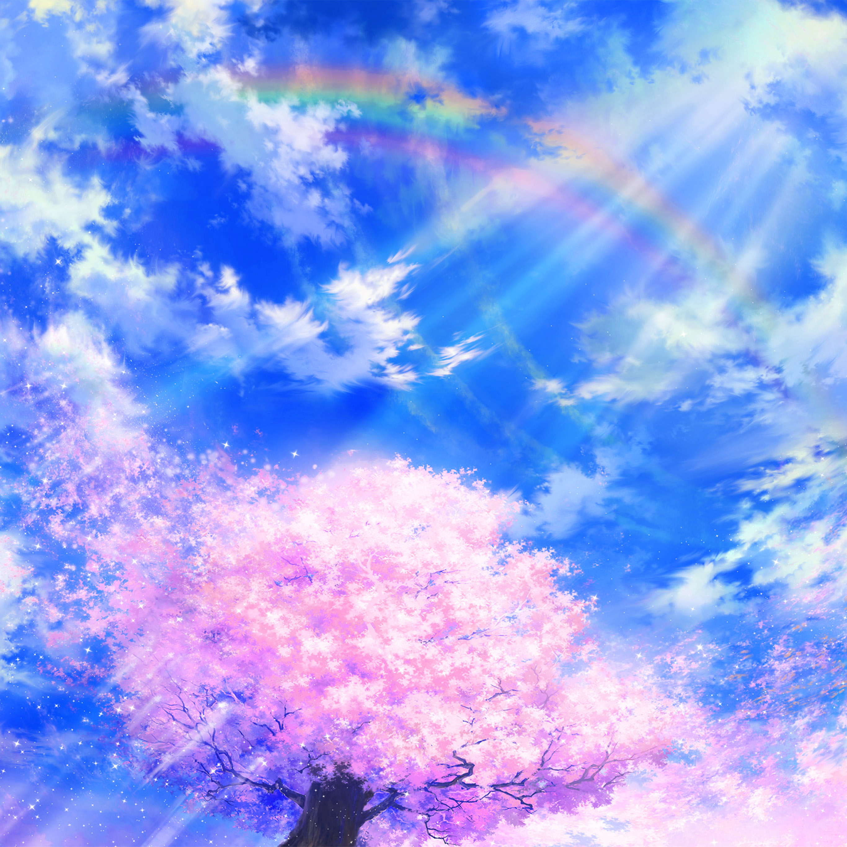 Bd76 Anime Sky Cloud Spring Art Illustration Blue Wallpaper