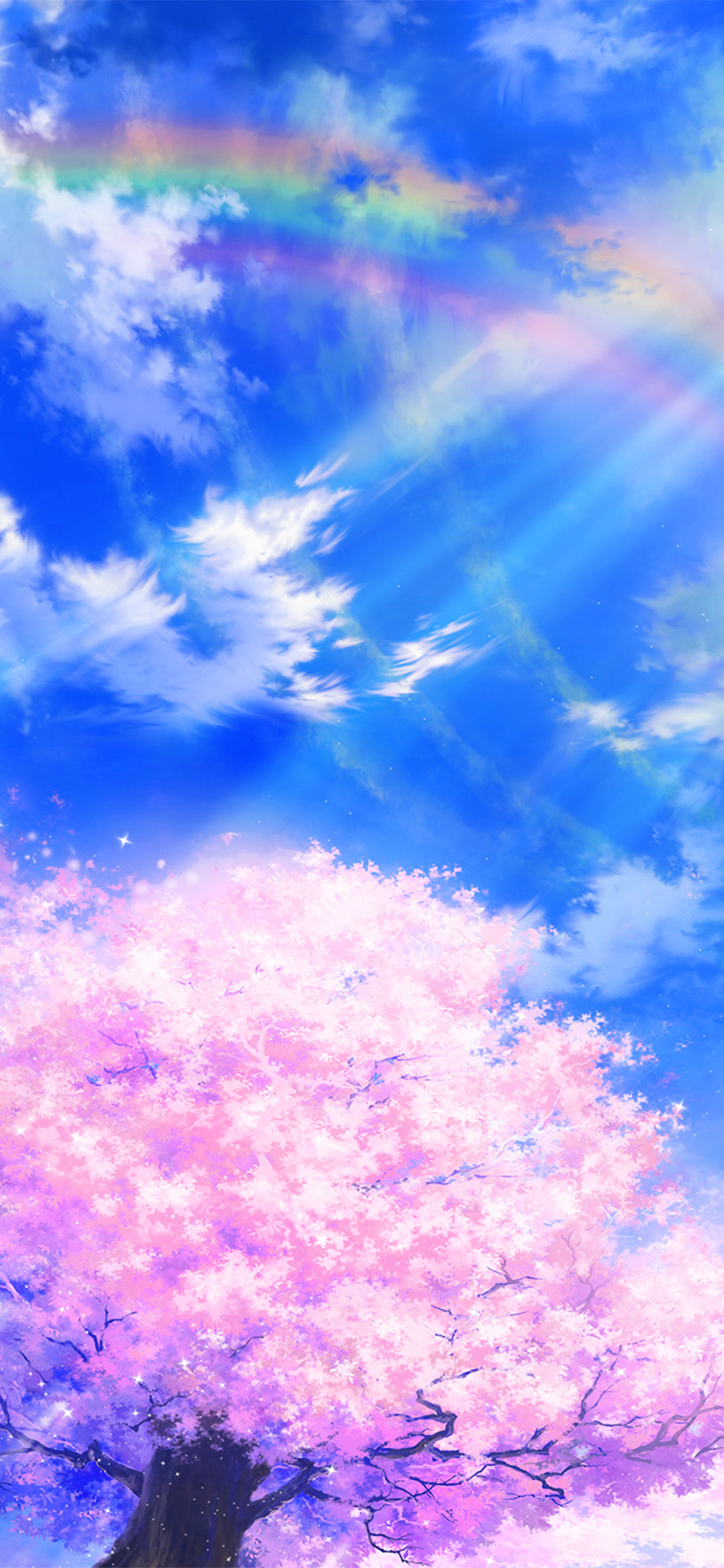 Bd76 Anime Sky Cloud Spring Art Illustration Blue Wallpaper