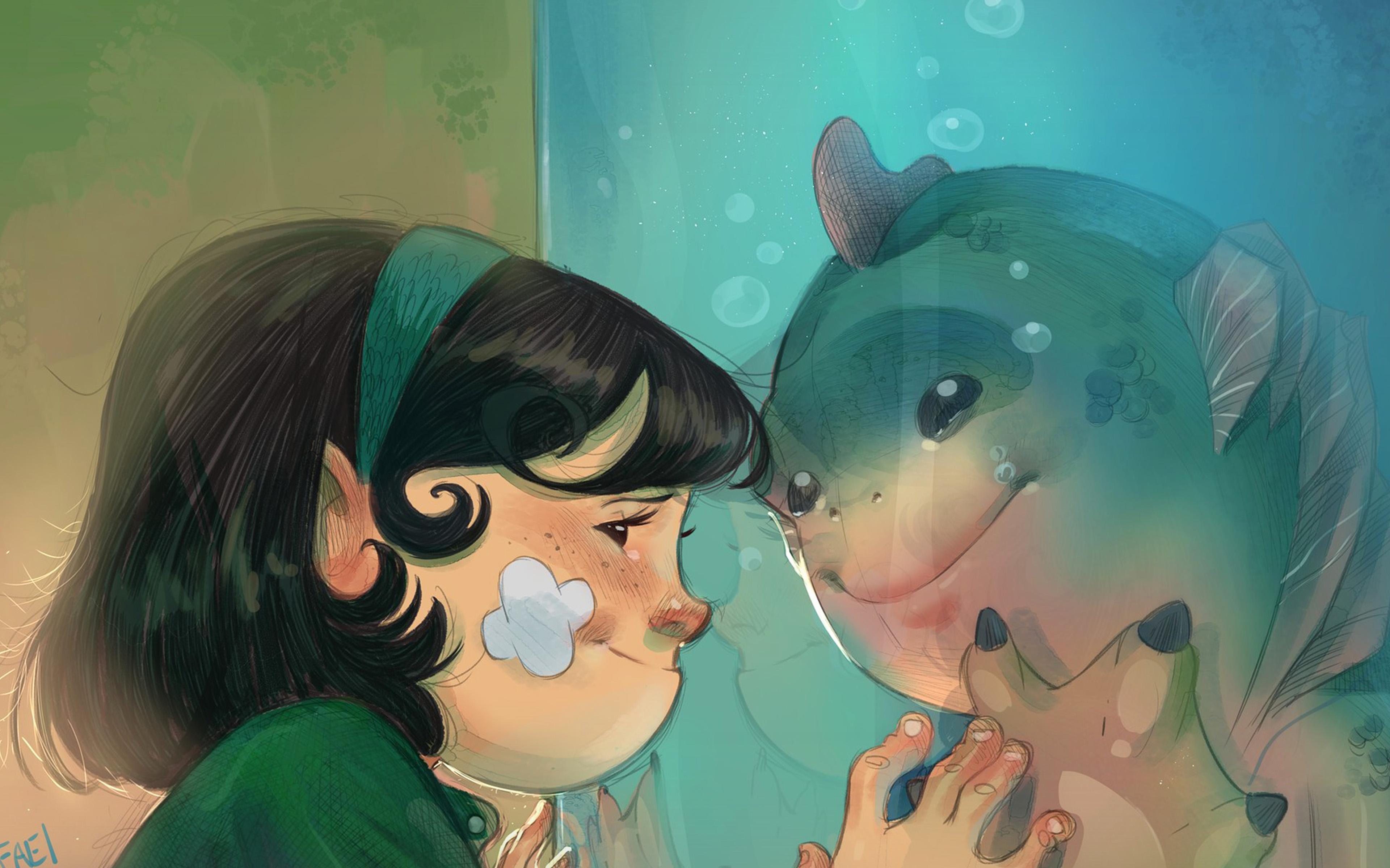 Be44 Rafael Sam Shape Of Water Anime Art Illustration Wallpaper