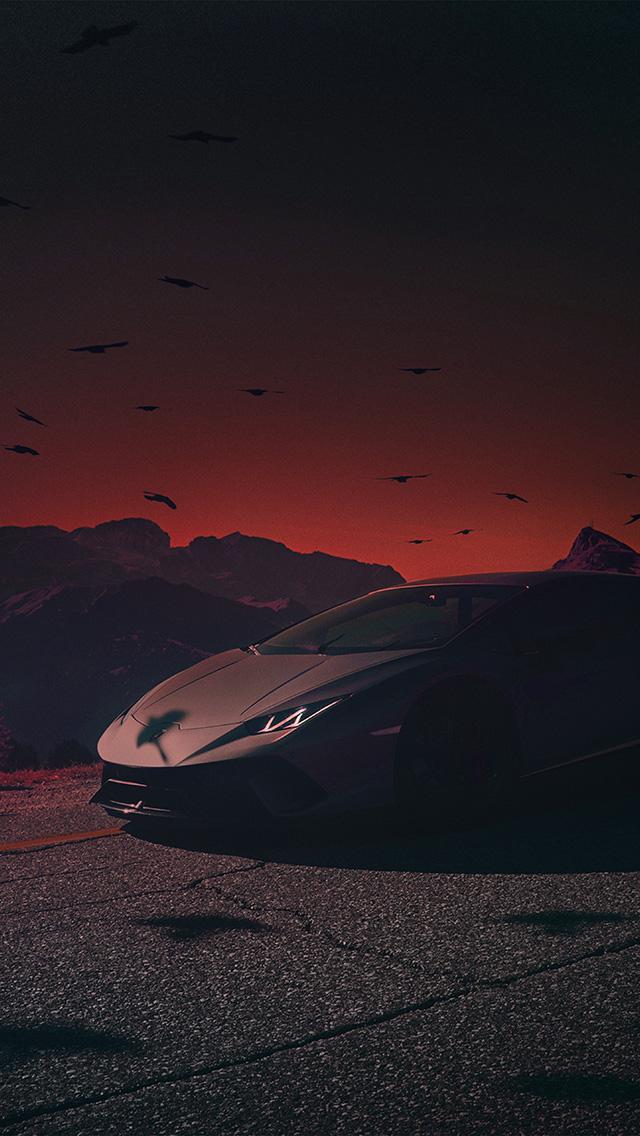 freeios8.com-iphone-4-5-6-plus-ipad-ios8-be74-car-lamborghini-dark-sunset-art-illustration-red