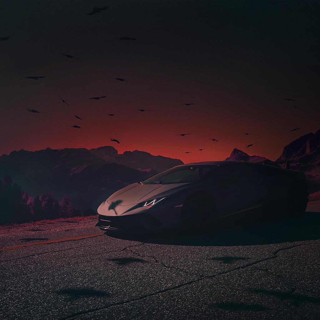 android-wallpaper-be74-car-lamborghini-dark-sunset-art-illustration-red-wallpaper