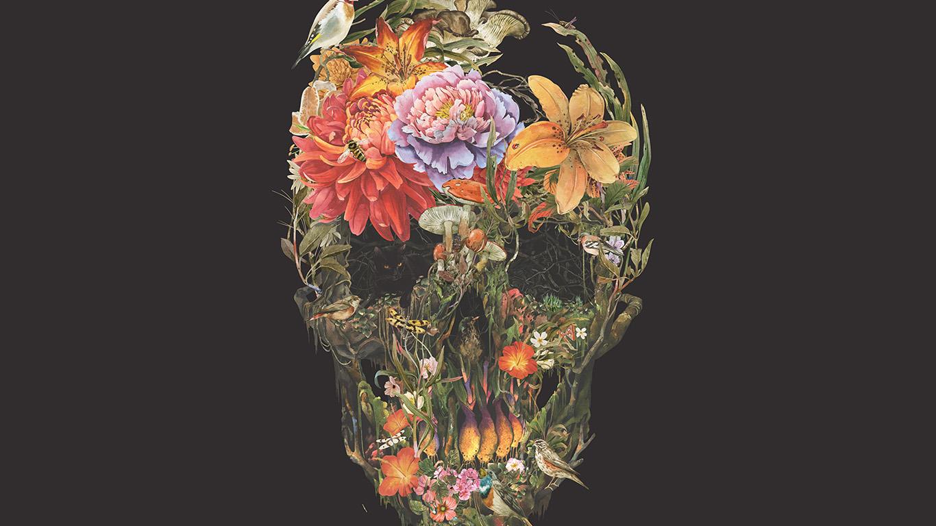 Wallpaper For Desktop Laptop Bf04 Skull Flower Dark Painting Art