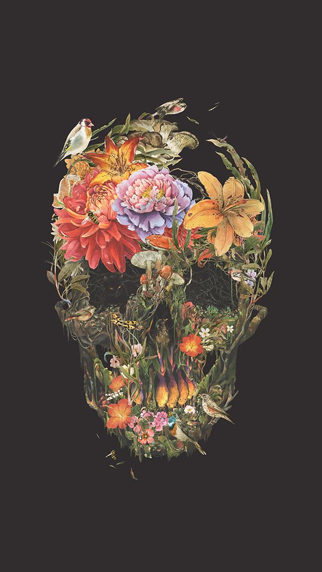 freeios8.com-iphone-4-5-6-plus-ipad-ios8-bf04-skull-flower-dark-painting-art