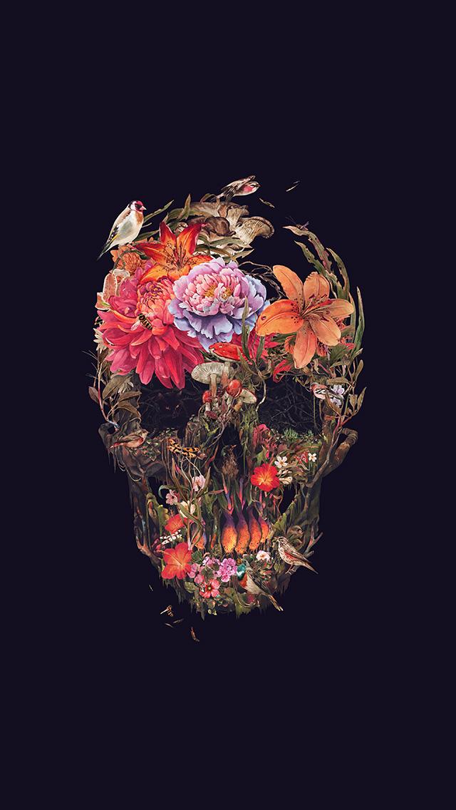 Freeios8com Iphone Wallpaper Bf05 Skull Flower Dark
