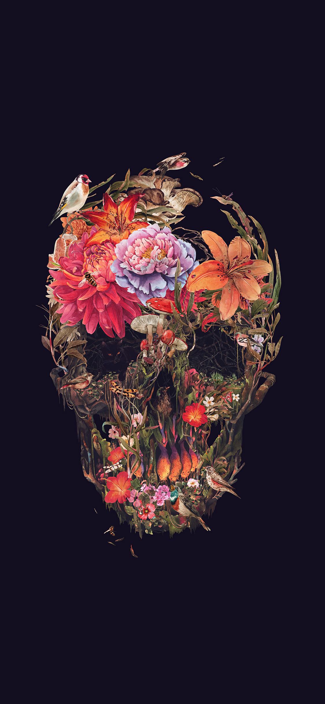 iPhonexpapers.com-Apple-iPhone-wallpaper-bf05-skull-flower-dark-painting-art-dark