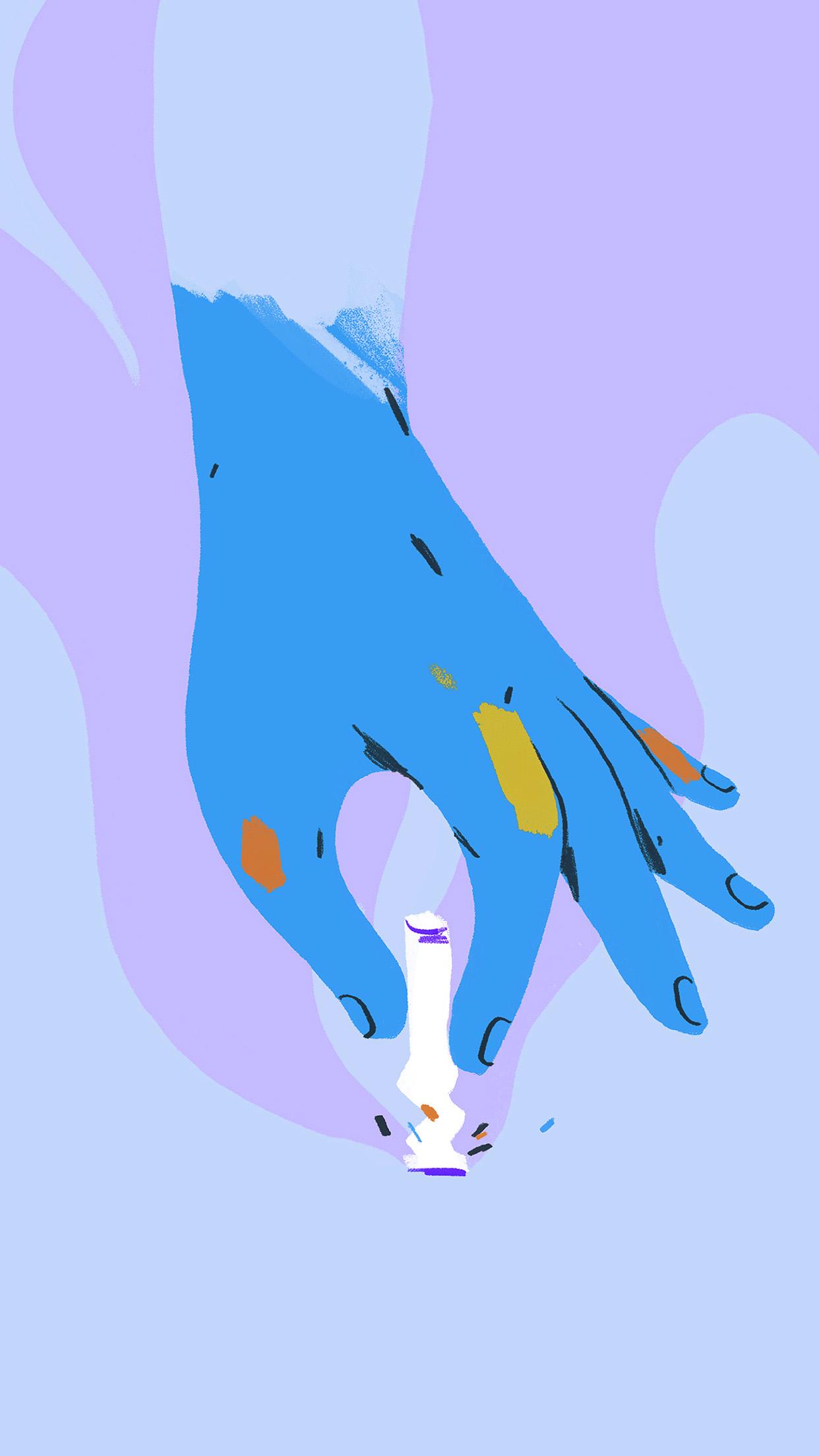 Bf21 Stop Smoking Hand Art Blue Wallpaper