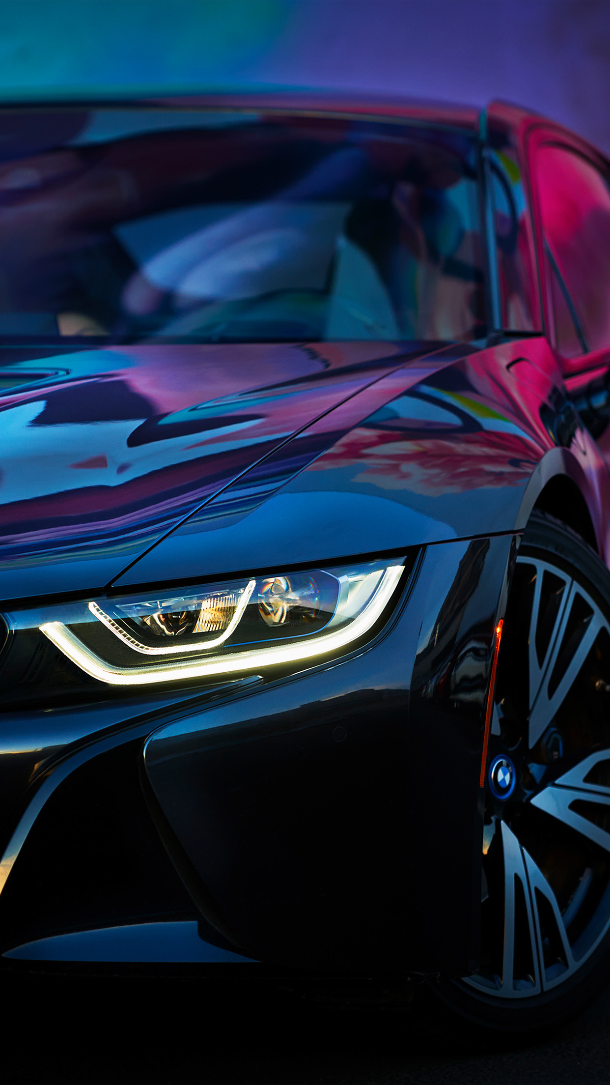 Bf26 Bmw Rainbow Blue Purple Car Art Wallpaper