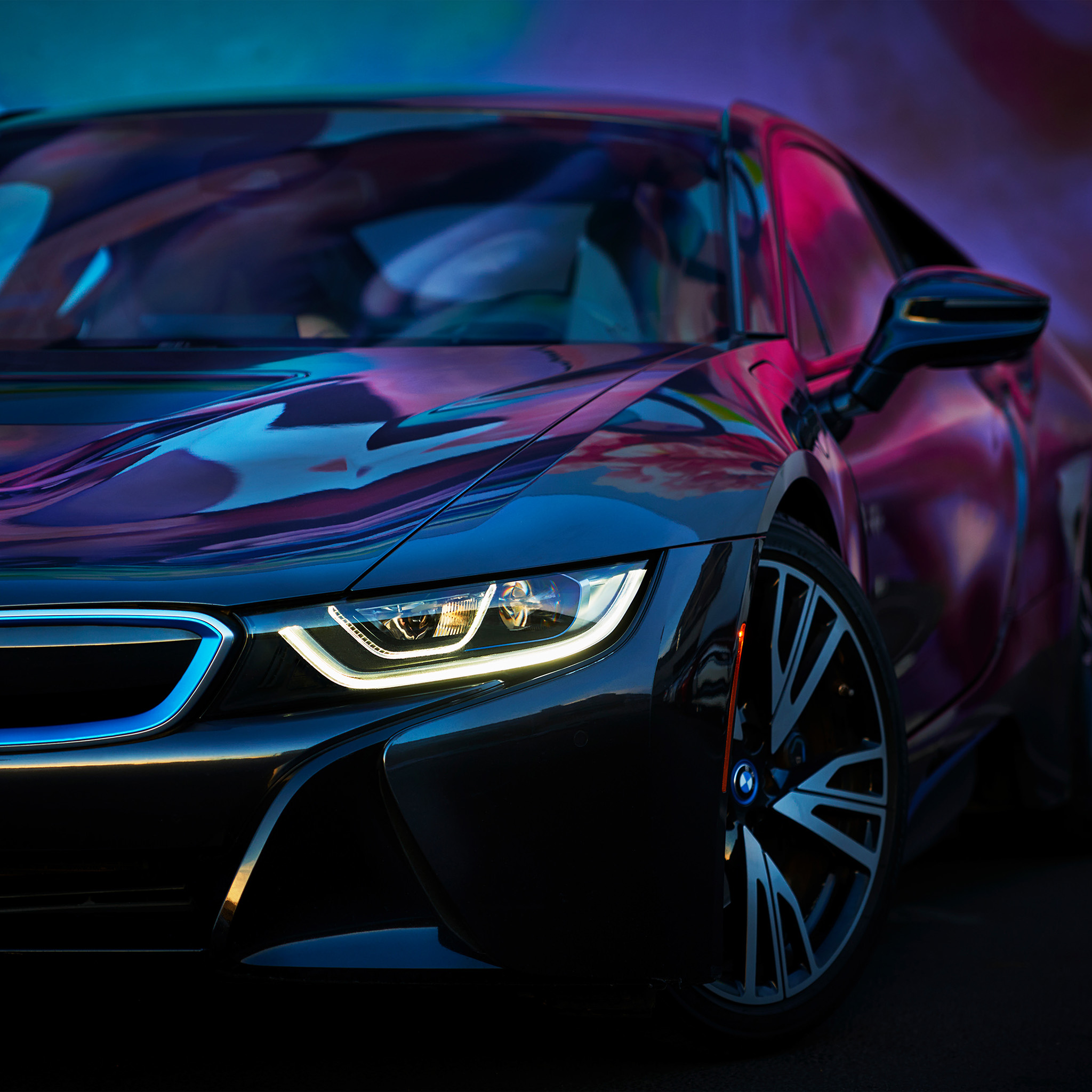 Bmw Car Wallpaper: Bf26-bmw-rainbow-blue-purple-car-art