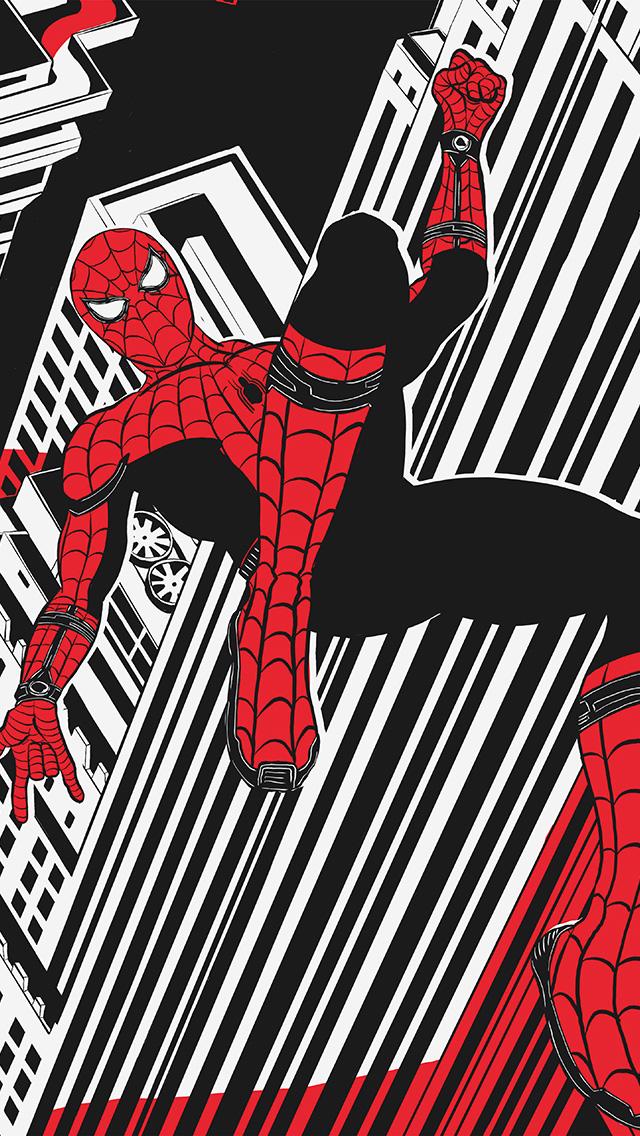 freeios8.com-iphone-4-5-6-plus-ipad-ios8-bf30-spiderman-hero-painting-marvel-art-black