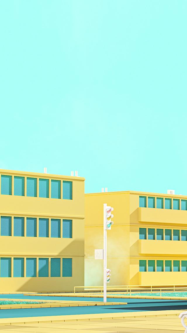 freeios8.com-iphone-4-5-6-plus-ipad-ios8-bf54-school-anime-illust-yellow-minimal-simple-art