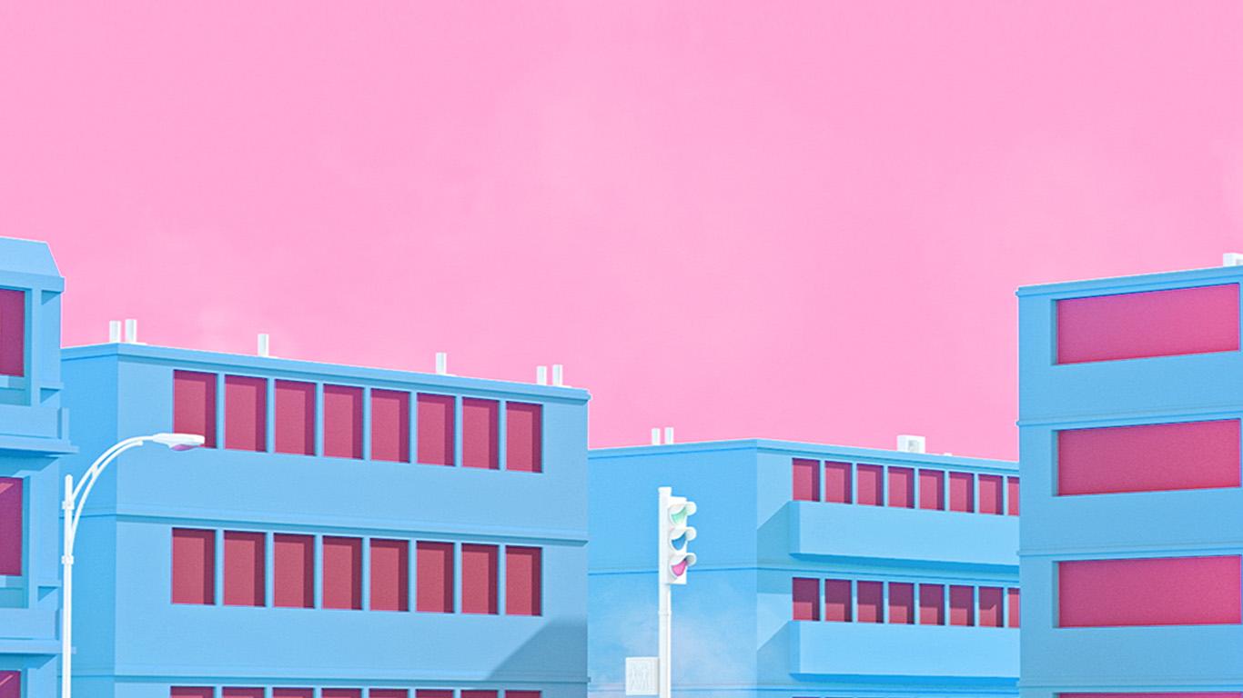 Bf56 School Anime Illust Blue Minimal Simple Art Wallpaper