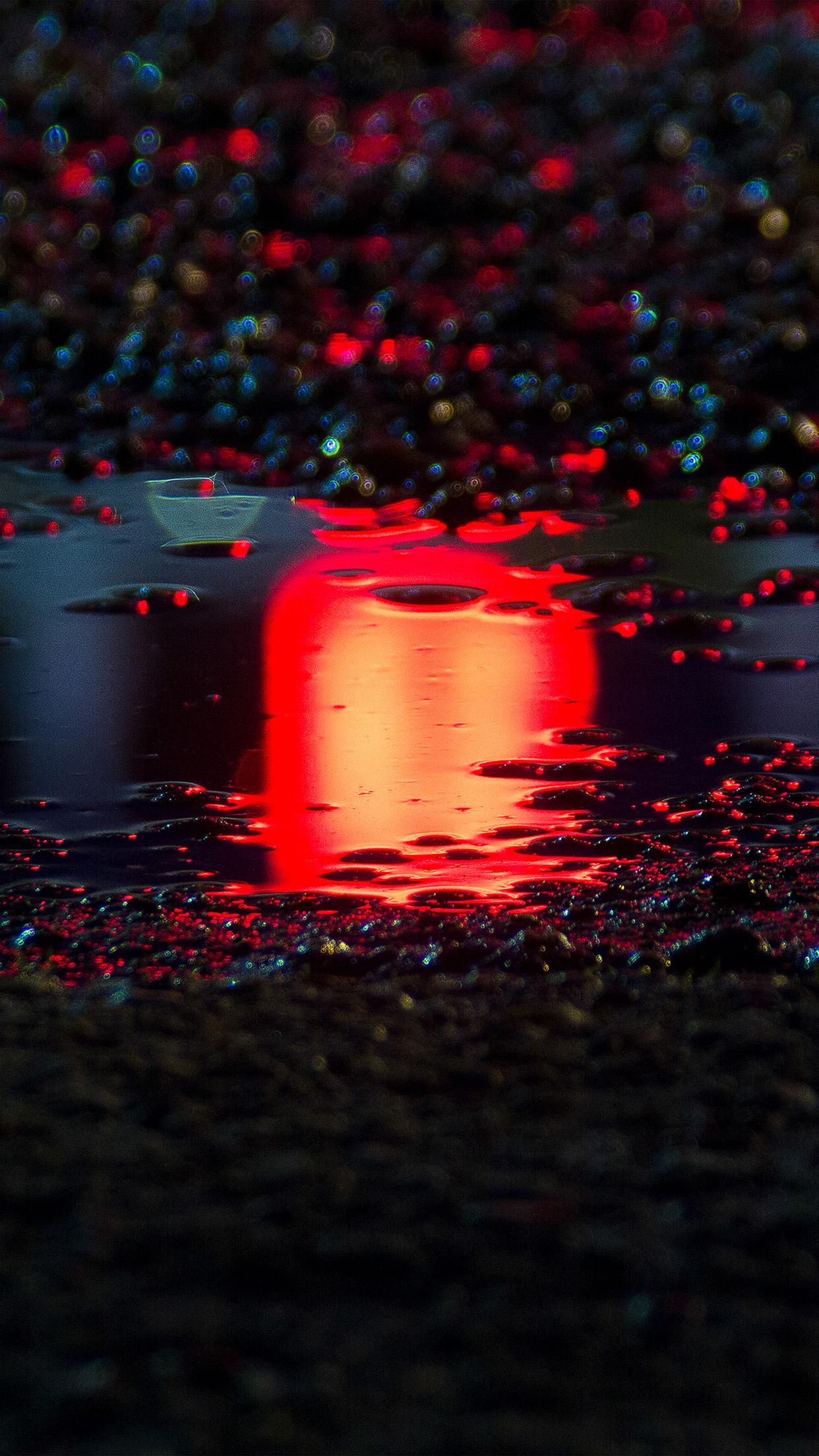 Bf60 Rain Red Bokeh Water Asphalt Art Light Wallpaper