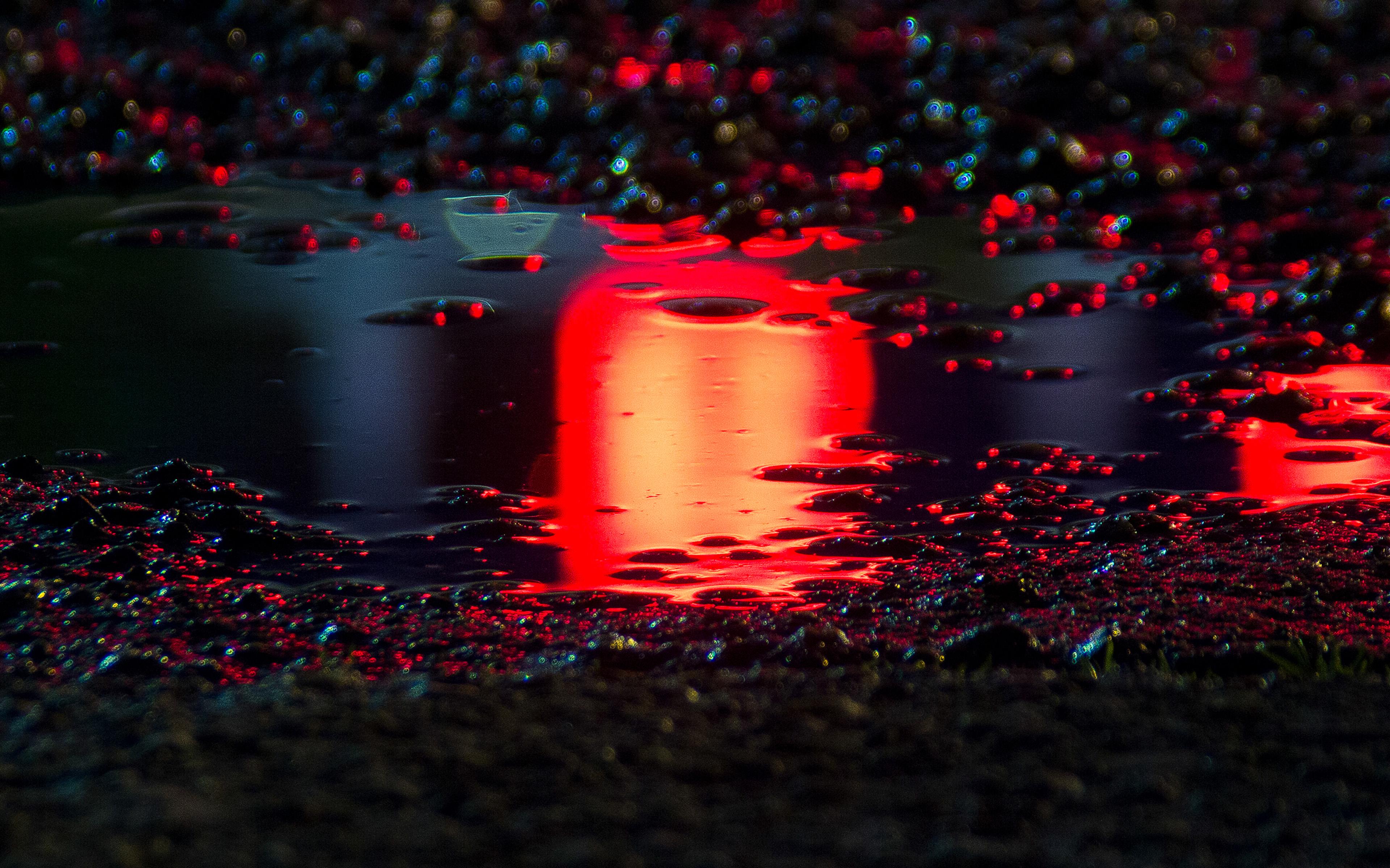 Old Car Car Sports Car Sports Landscape Rain Water: Bf60-rain-red-bokeh-water-asphalt-art-light-wallpaper