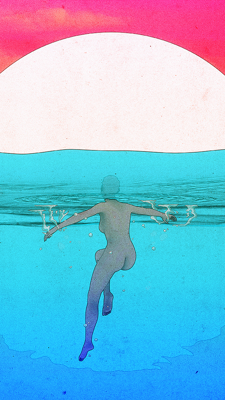 iPhonepapers.com-Apple-iPhone-wallpaper-bf81-red-blue-sea-sun-illustration-girl-swim-art-anime
