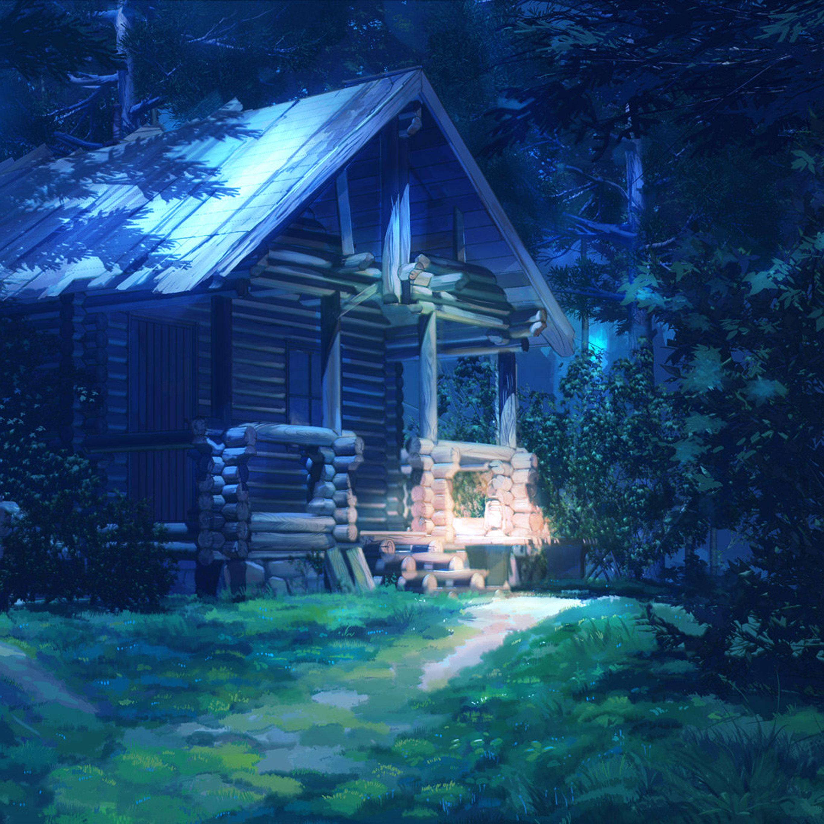 Bg74 Arseniy Chebynkin House Wood Illust Art Wallpaper