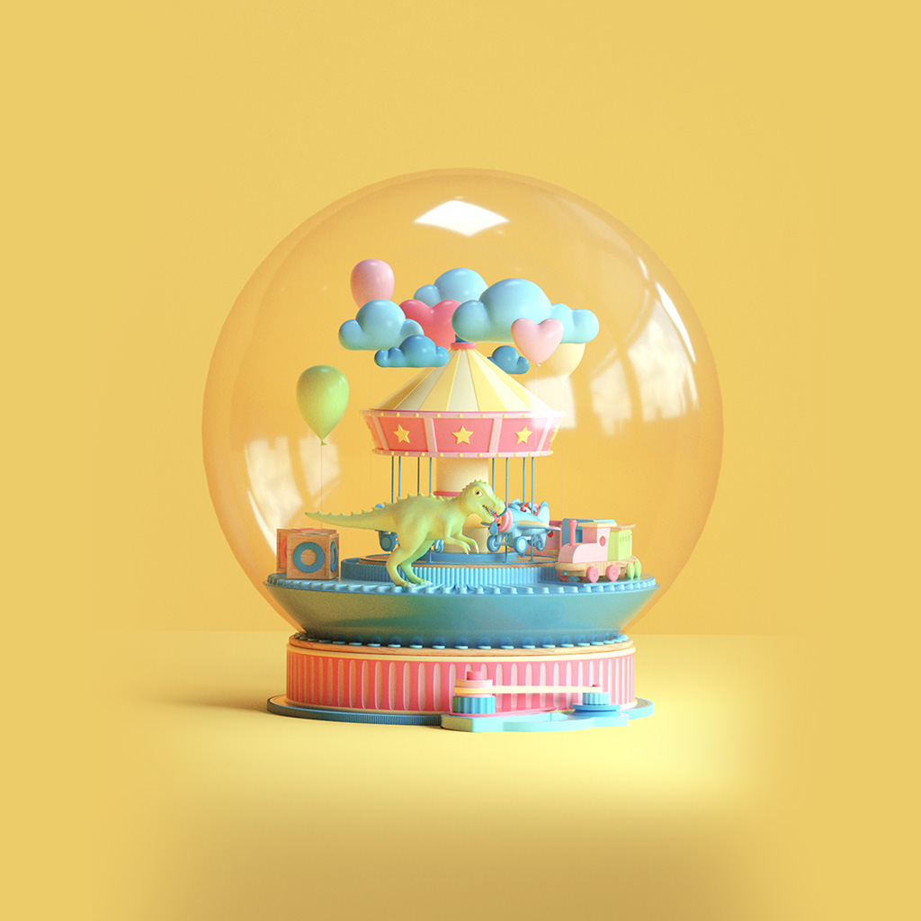 android-wallpaper-bg82-toy-dinosaur-yellow-art-digital-cute-wallpaper