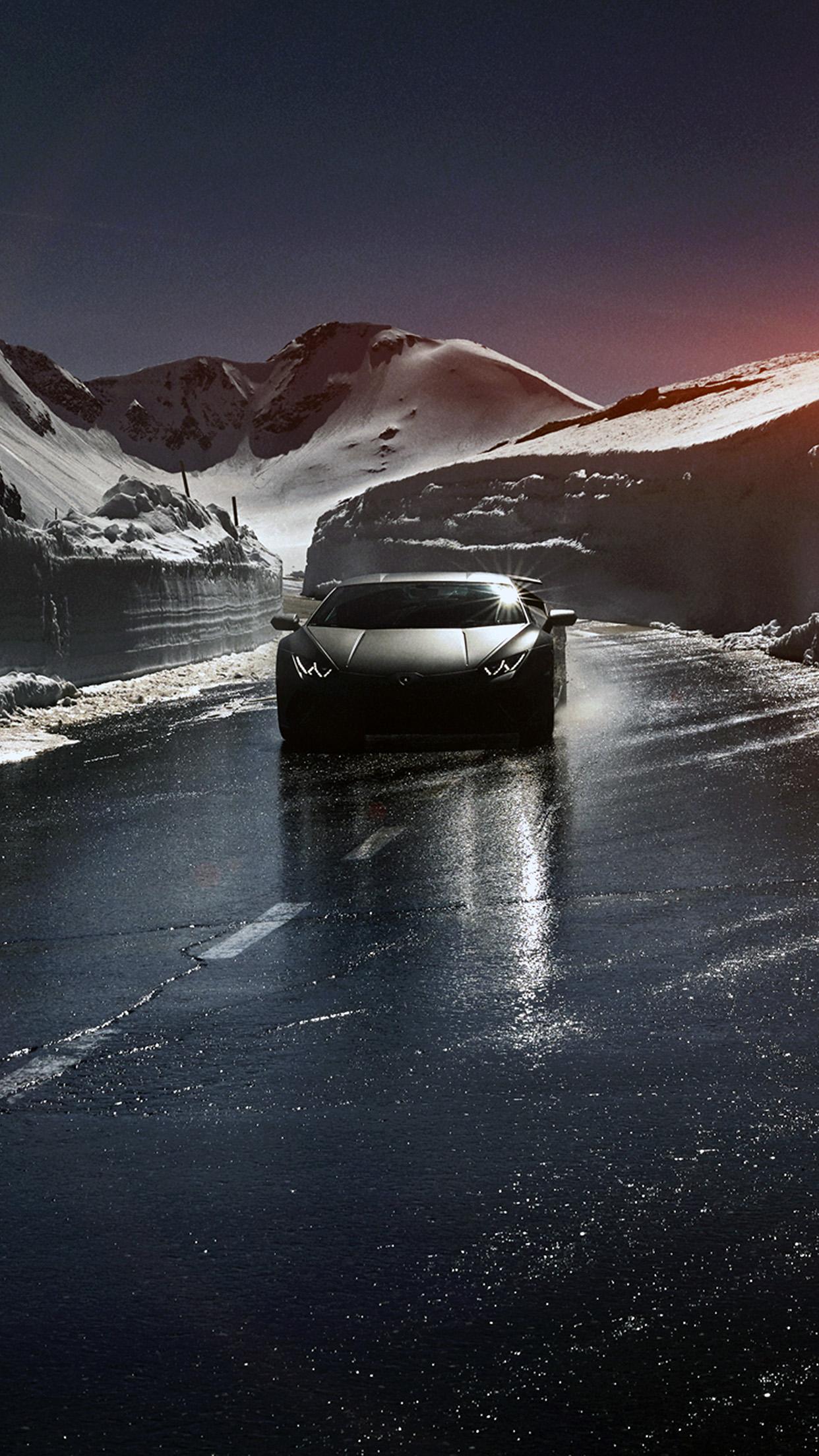 iPhone11papers.com | iPhone11 wallpaper | bg86-car-lamborghini-car -dark-road-drive-art-winter