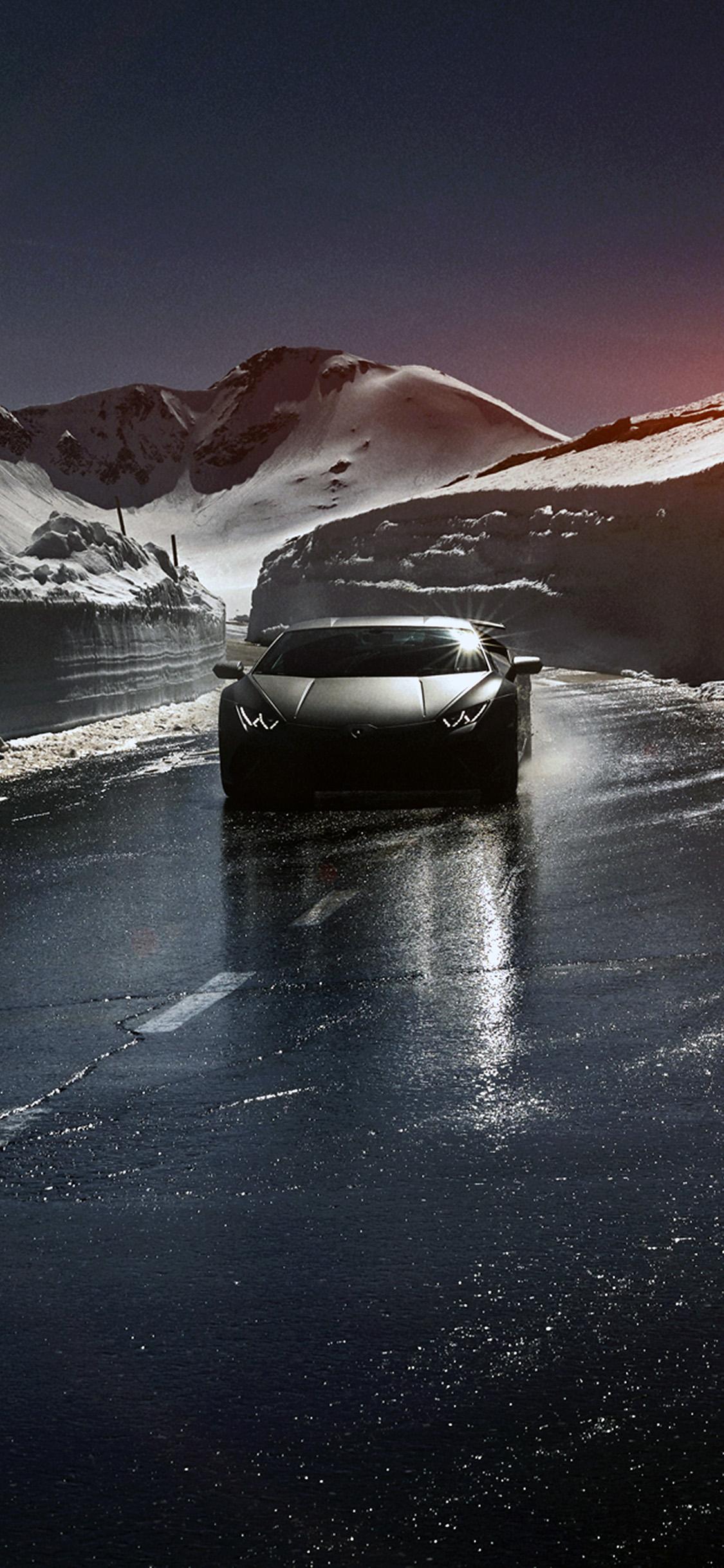 iPhonexpapers.com-Apple-iPhone-wallpaper-bg86-car-lamborghini-car-dark-road-drive-art-winter