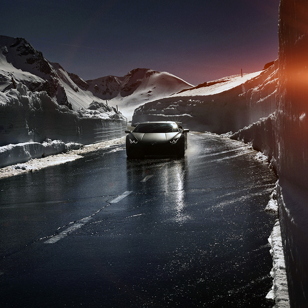 android-wallpaper-bg86-car-lamborghini-car-dark-road-drive-art-winter-wallpaper
