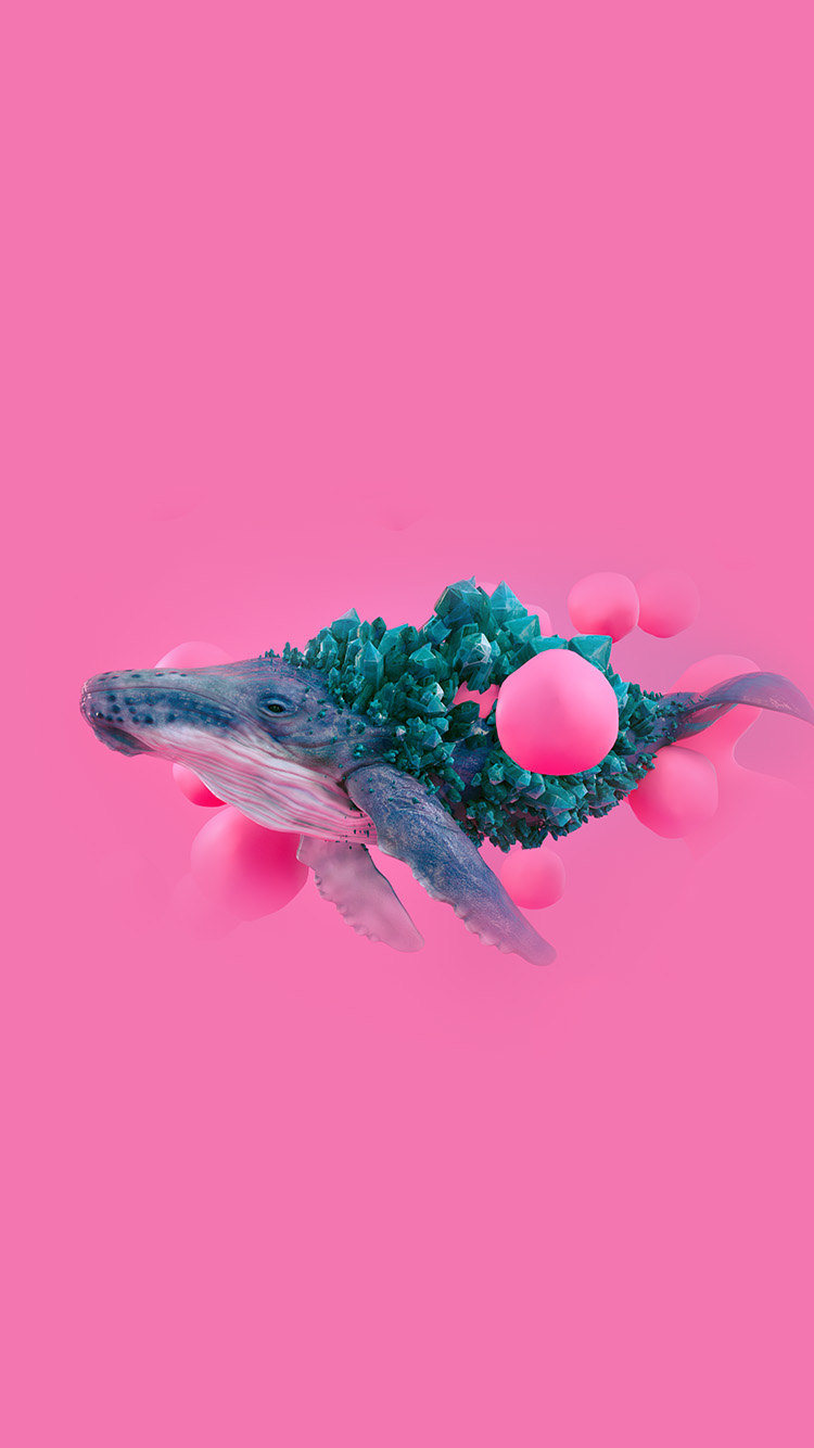 Papers Co Iphone Wallpaper Bg94 Whale Pink Bubble Illustration Digital Art Animal