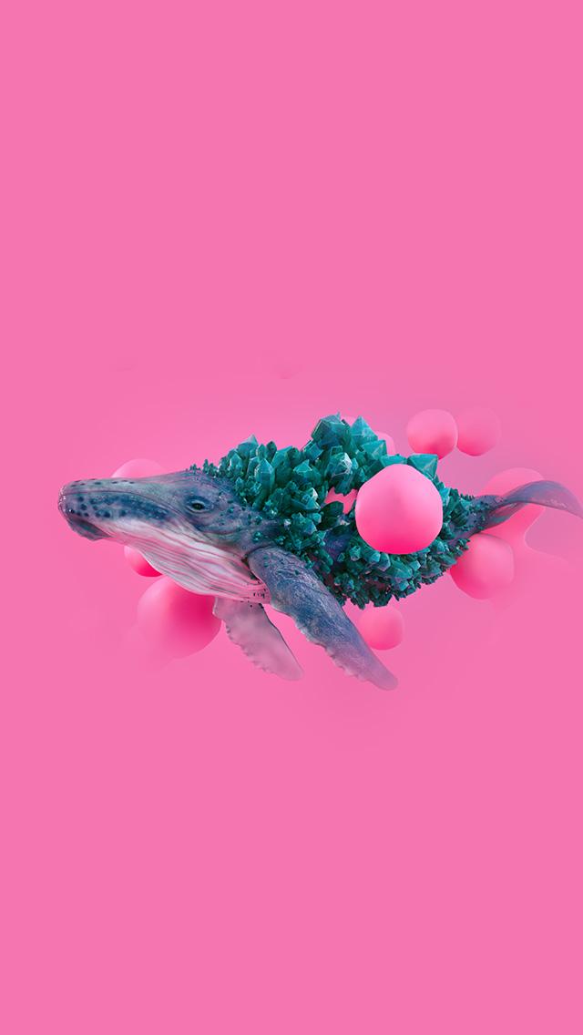 freeios8.com-iphone-4-5-6-plus-ipad-ios8-bg94-whale-pink-bubble-illustration-digital-art-animal
