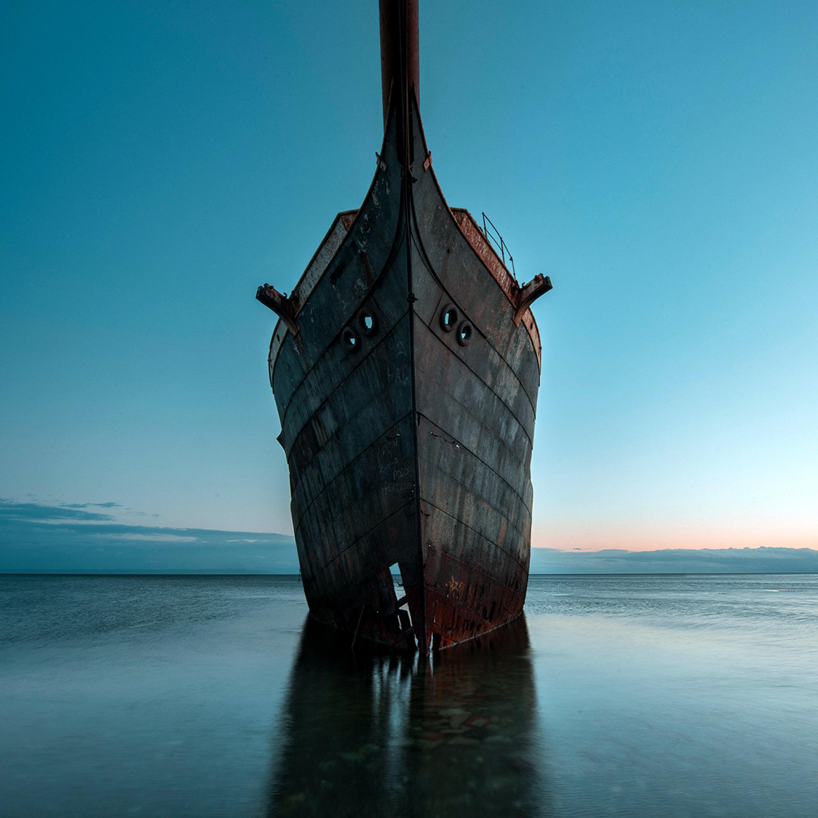 Bh28 Boat Ship Sea Blue Art Wallpaper