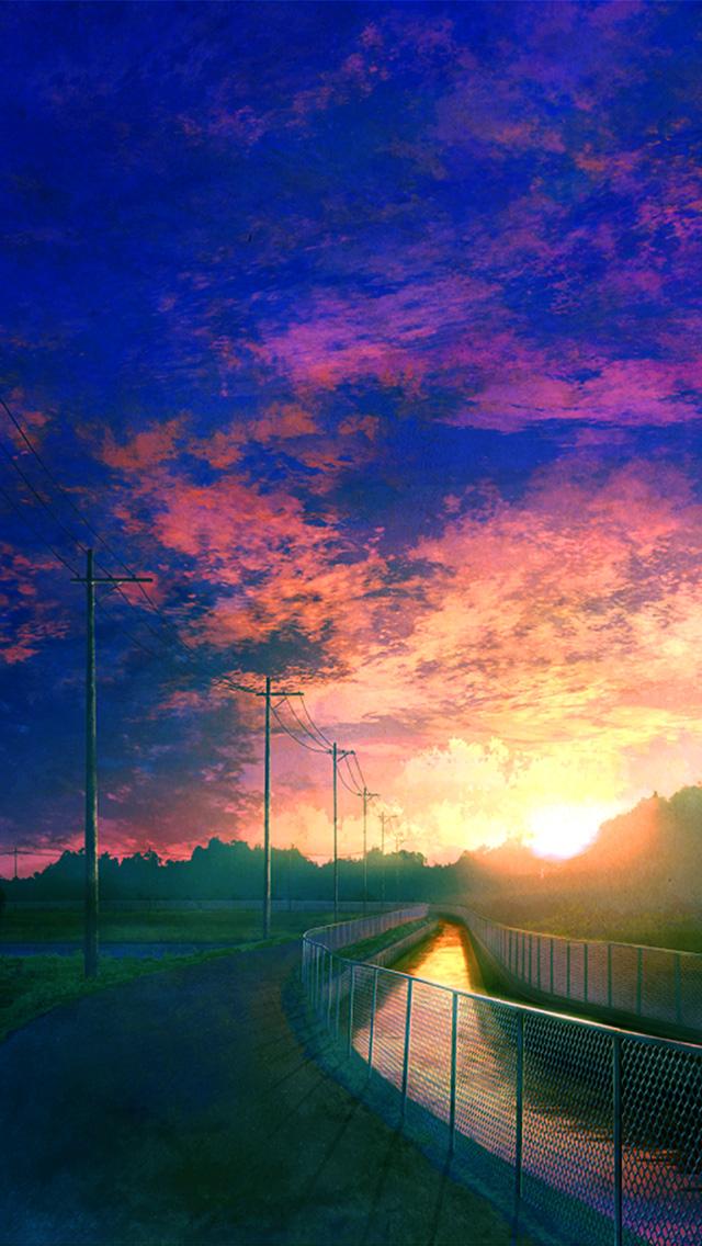 freeios8.com-iphone-4-5-6-plus-ipad-ios8-bh55-sunset-illust-movie-nature-art-art-blue-sky