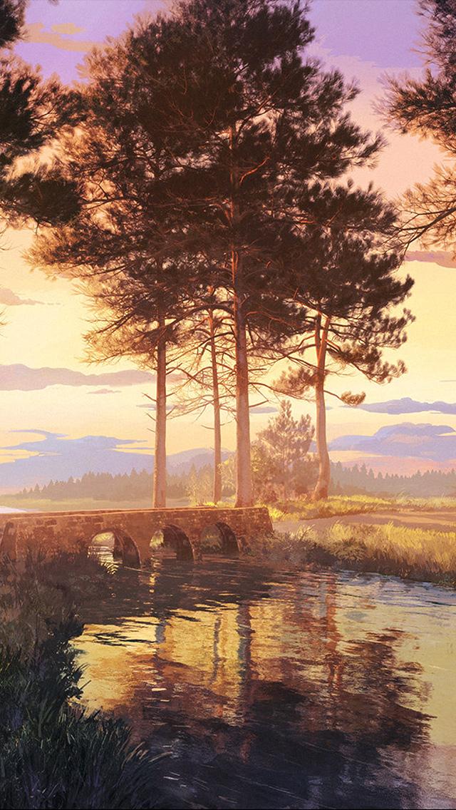 freeios8.com-iphone-4-5-6-plus-ipad-ios8-bh59-wood-nature-illust-forest-picture-art