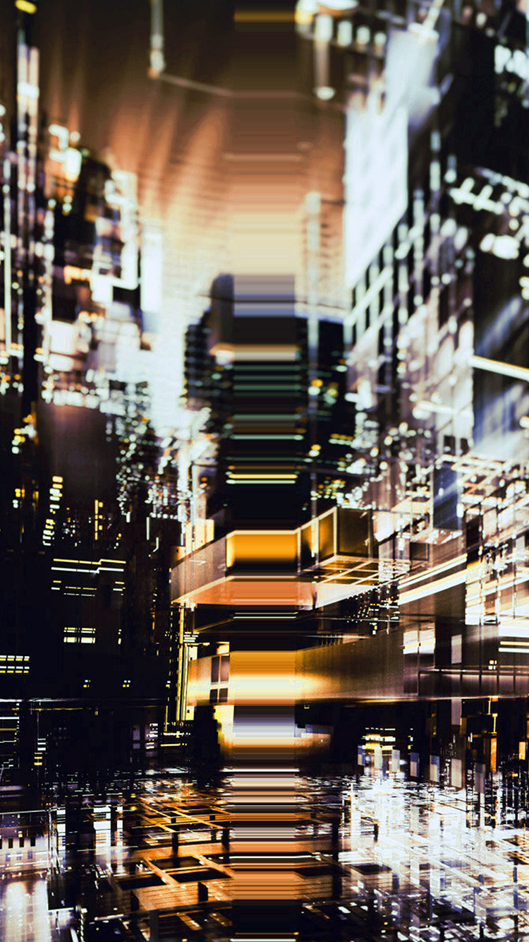 iPhone7papers.com-Apple-iPhone7-iphone7plus-wallpaper-bh83-digital-city-yellow-light-abstract-art-black