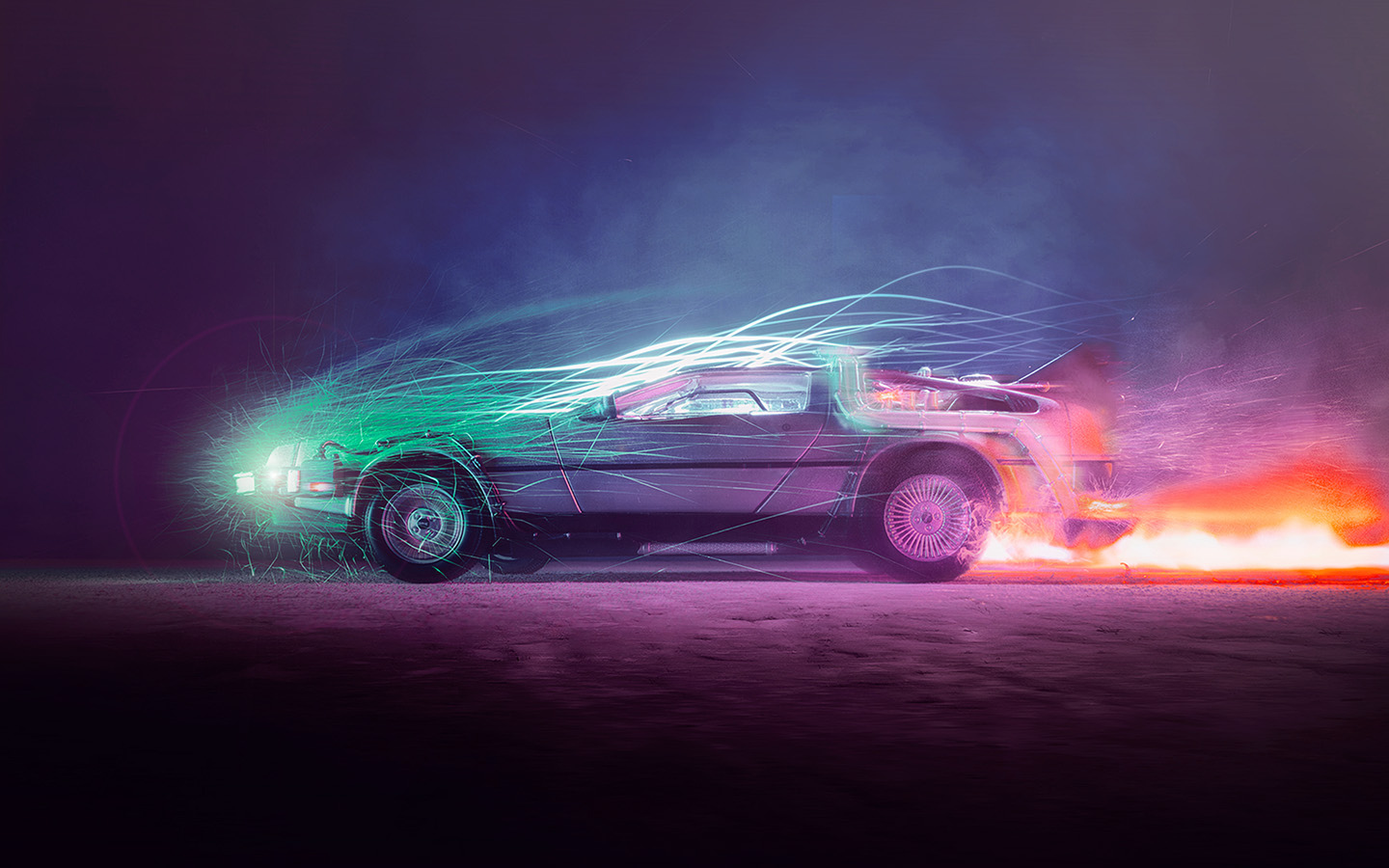 Bh85 Backtothefuture Car Film Art Night Cool Wallpaper