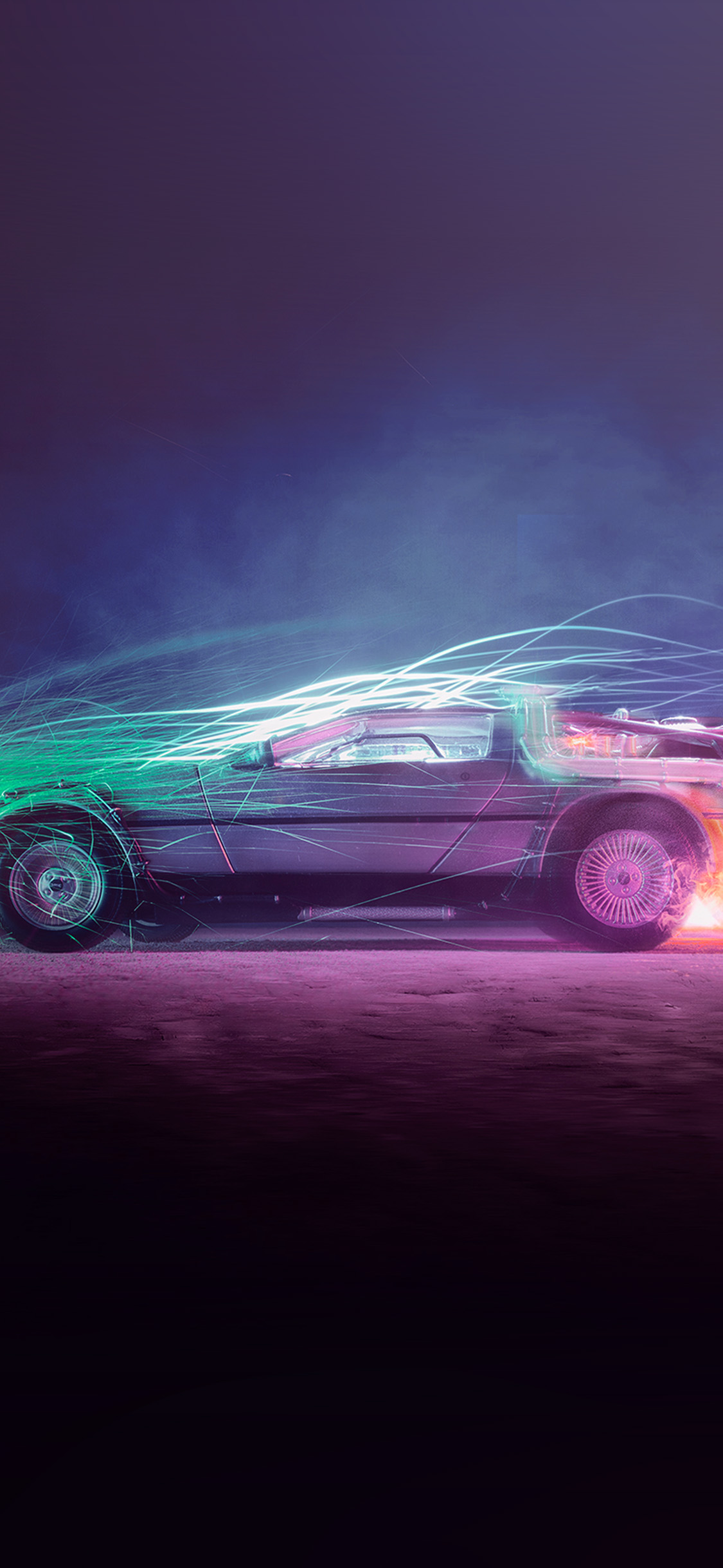 iPhonexpapers.com-Apple-iPhone-wallpaper-bh85-backtothefuture-car-film-art-night-cool