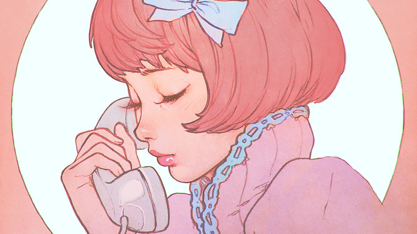 papers.co bj13 pink phone girl cute anime drawing art ilya 29 wallpaper