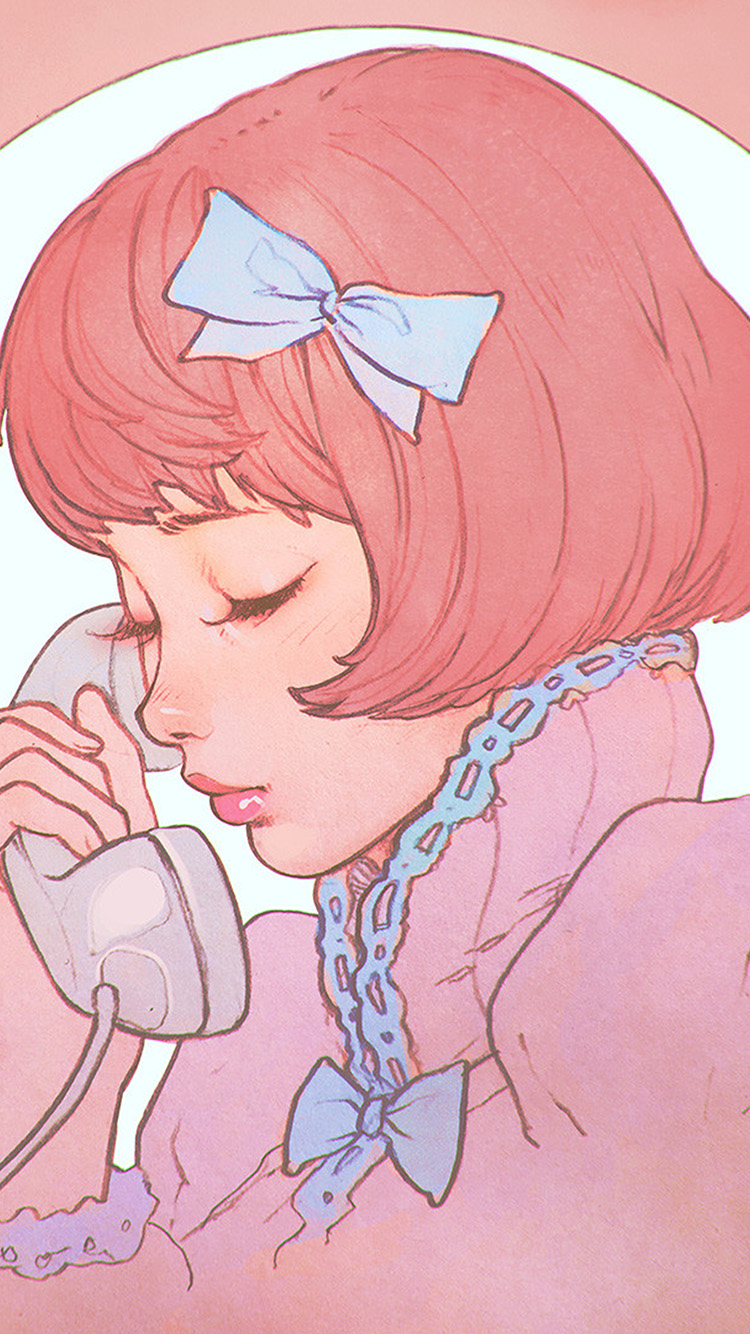 Papers.co-iPhone5-iphone6-plus-wallpaper-bj13-pink-phone-girl-cute-anime-drawing-art-ilya