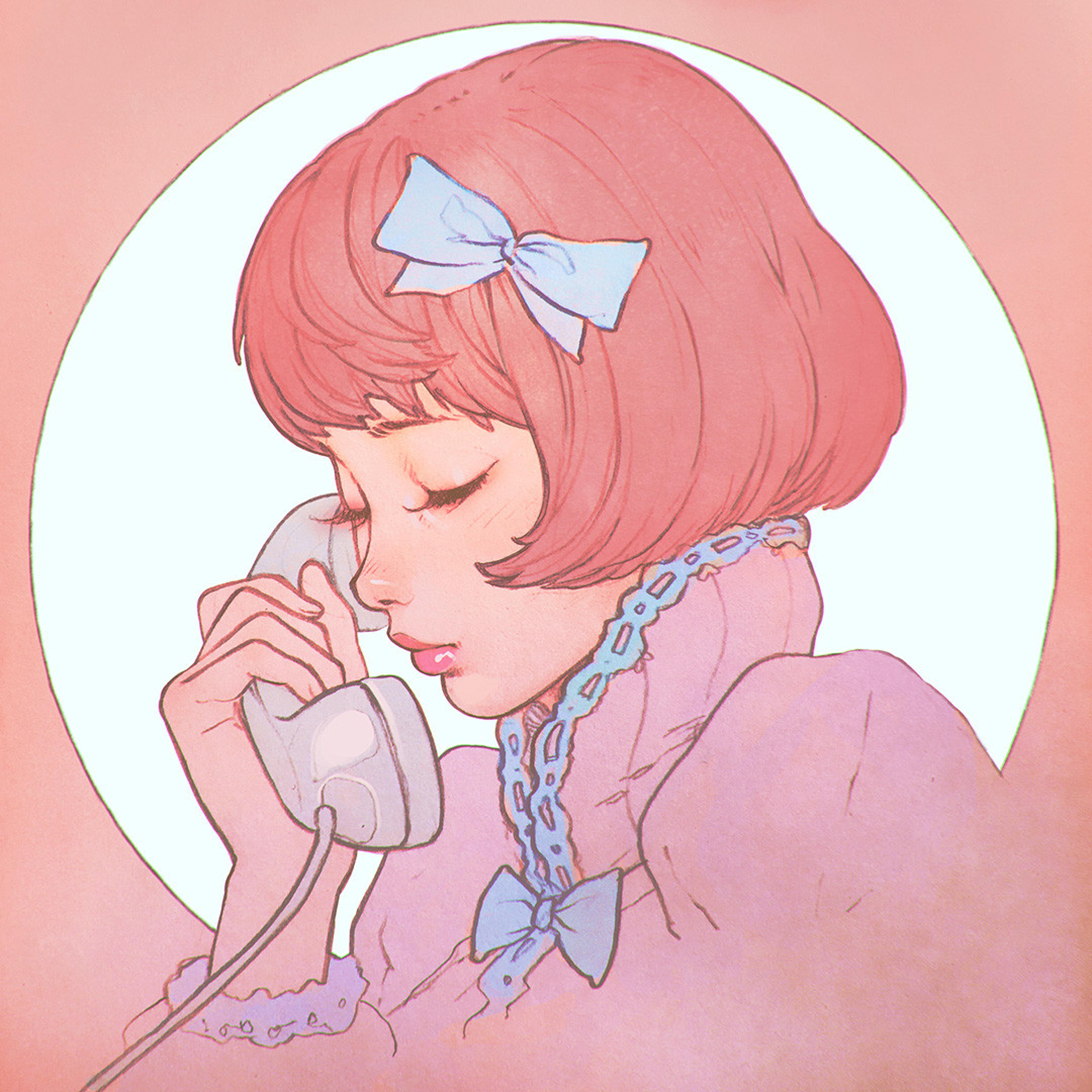Bj13 Pink Phone Girl Cute Anime Drawing Art Ilya Wallpaper
