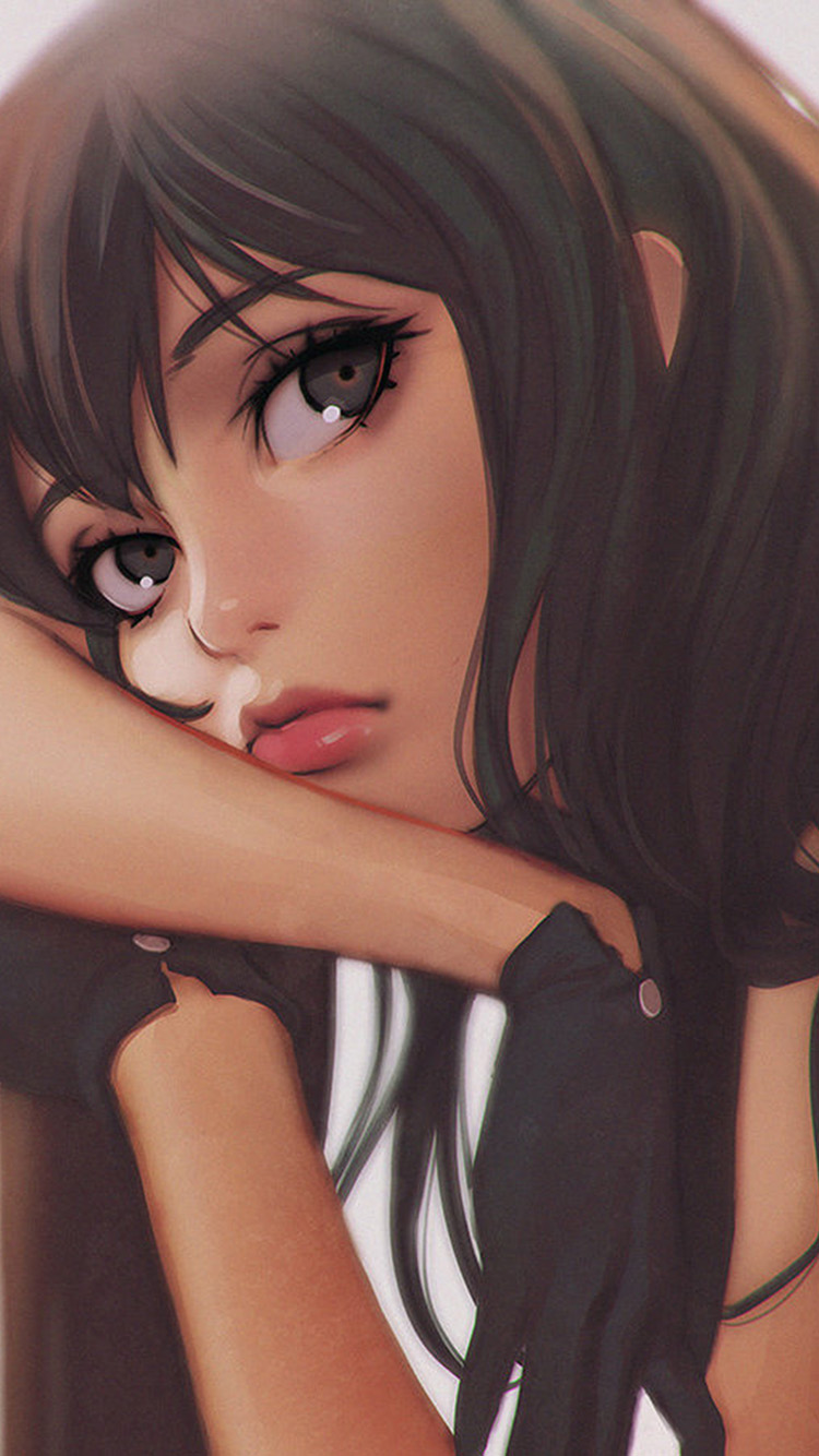 Papers.co-iPhone5-iphone6-plus-wallpaper-bj15-ilya-girl-face-anime-art