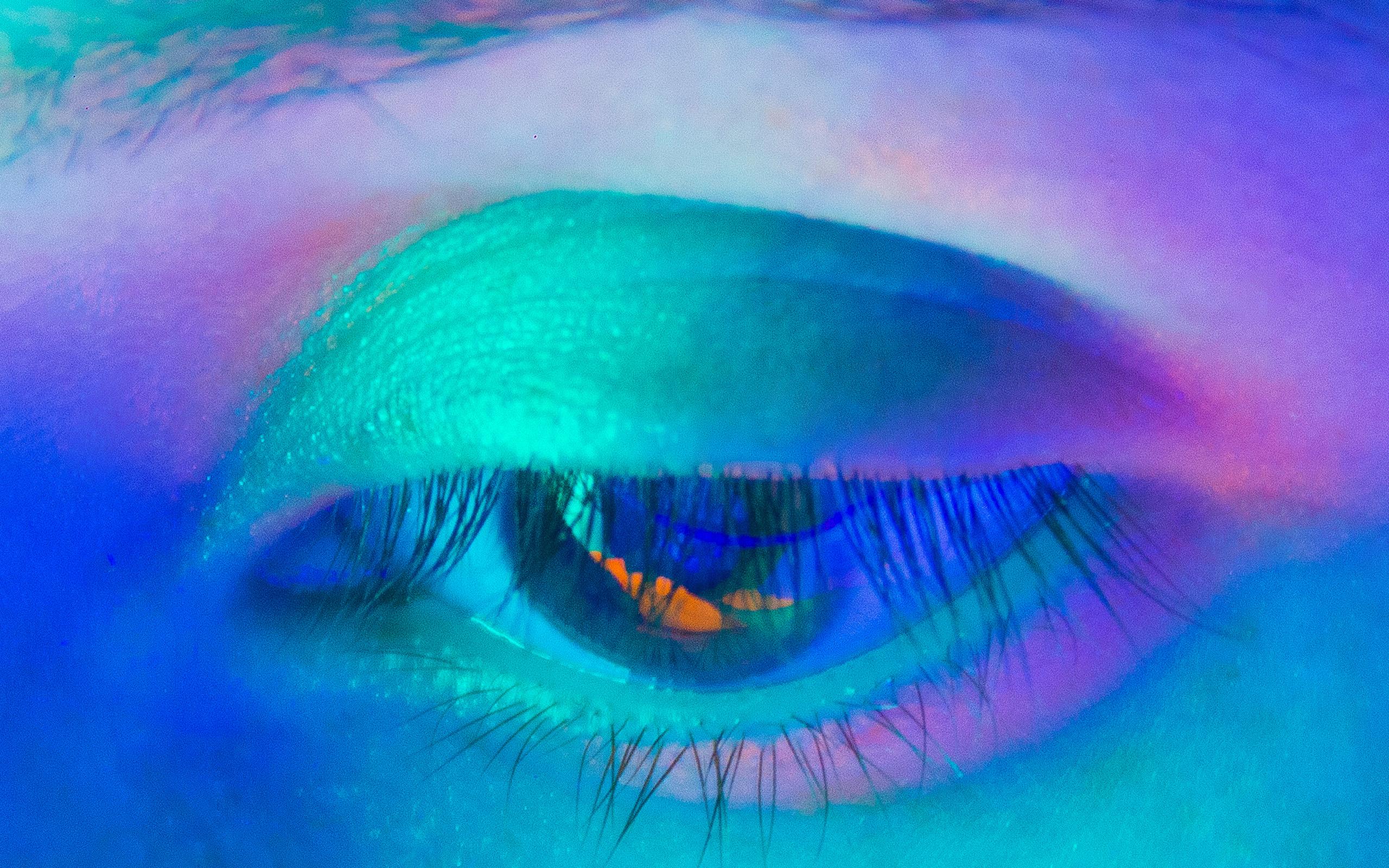 Bj20 Neon Eye Blue Human Body Art Wallpaper