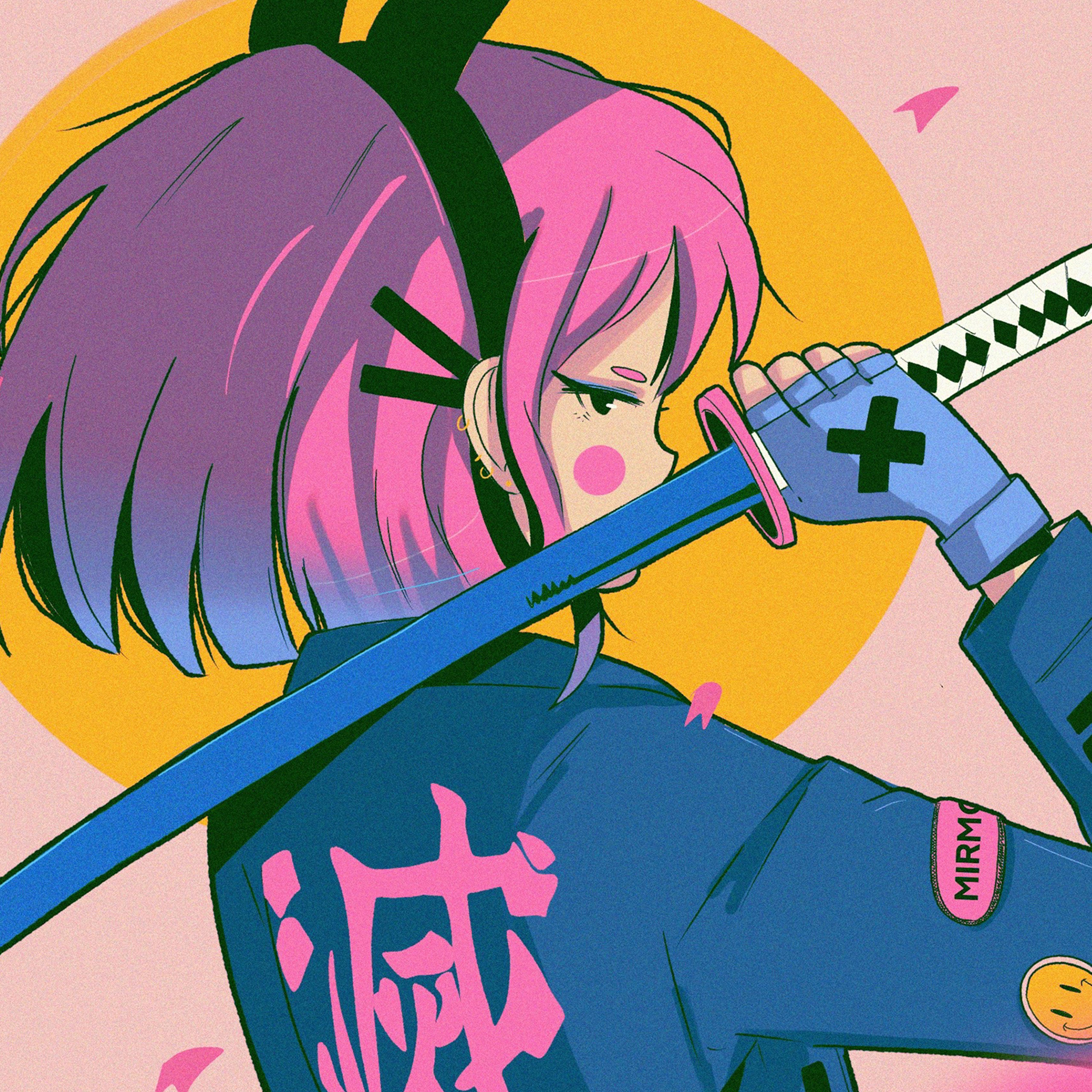 Bj90 Art Japan Girl Illust Sword Pink Wallpaper