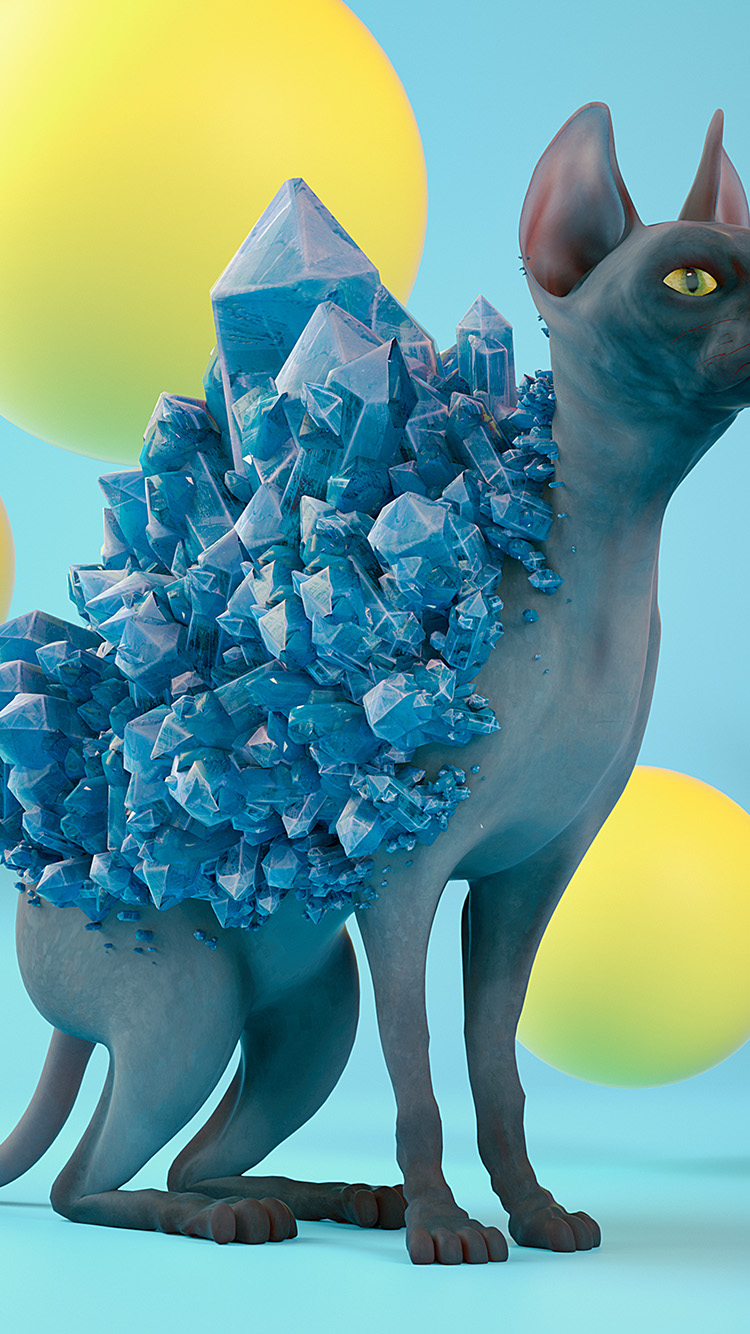 Papers.co-iPhone5-iphone6-plus-wallpaper-bk01-art-diamond-cat-blue