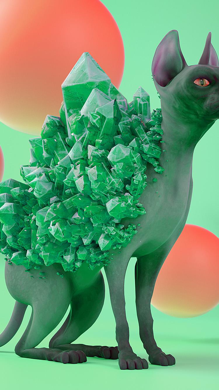 iPhone7papers.com-Apple-iPhone7-iphone7plus-wallpaper-bk02-art-diamond-cat-green