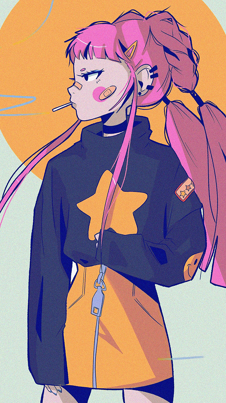 iPhone7papers.com-Apple-iPhone7-iphone7plus-wallpaper-bk56-art-illust-girl-pink-tomboy