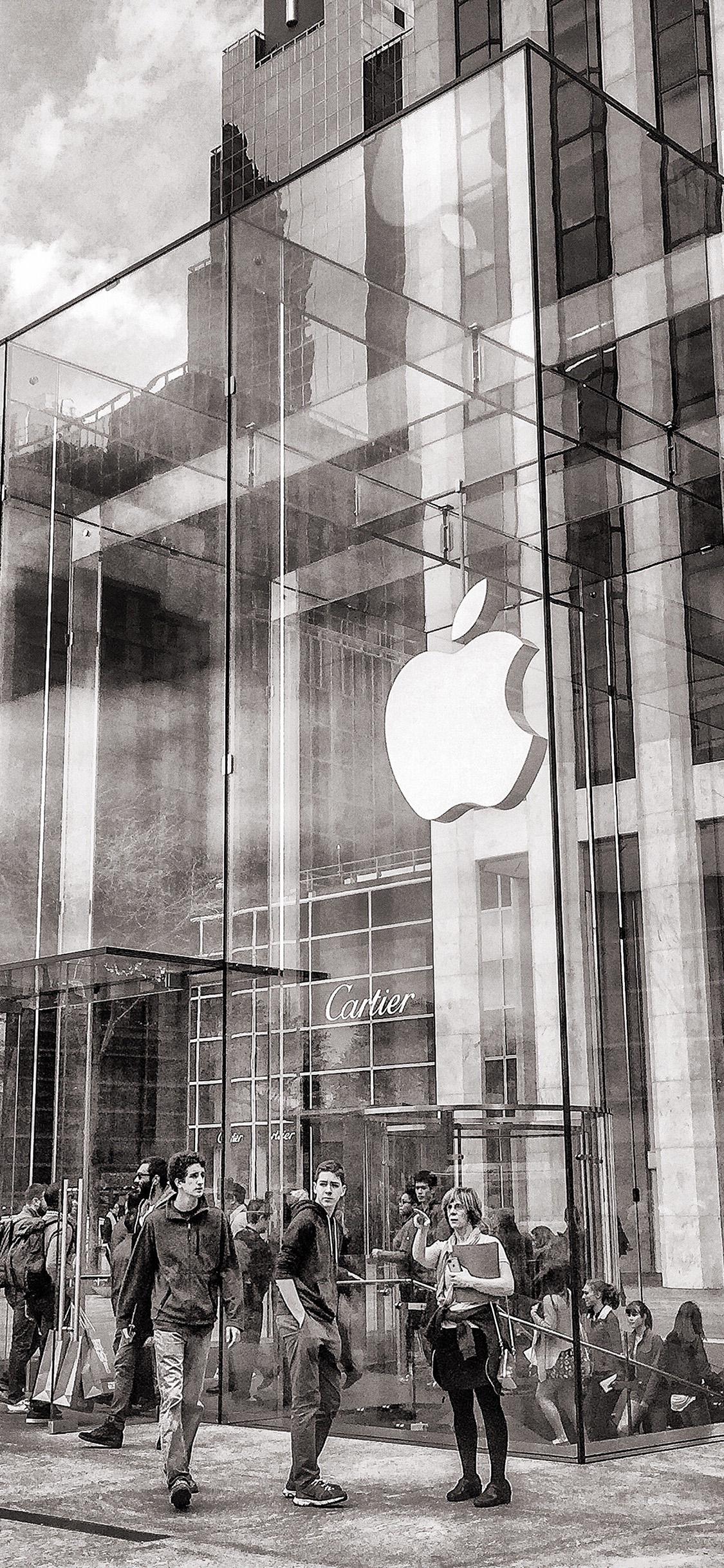 Iphonexpapers Com Iphone X Wallpaper Bl12 Art Apple Store Newyork City Bw