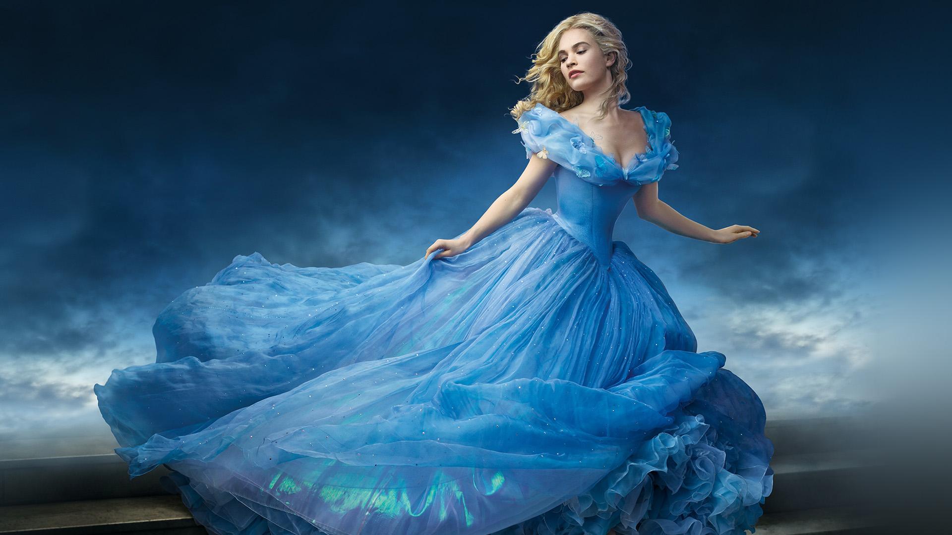 Hi57 Cinderella Dress Blue Art Wallpaper